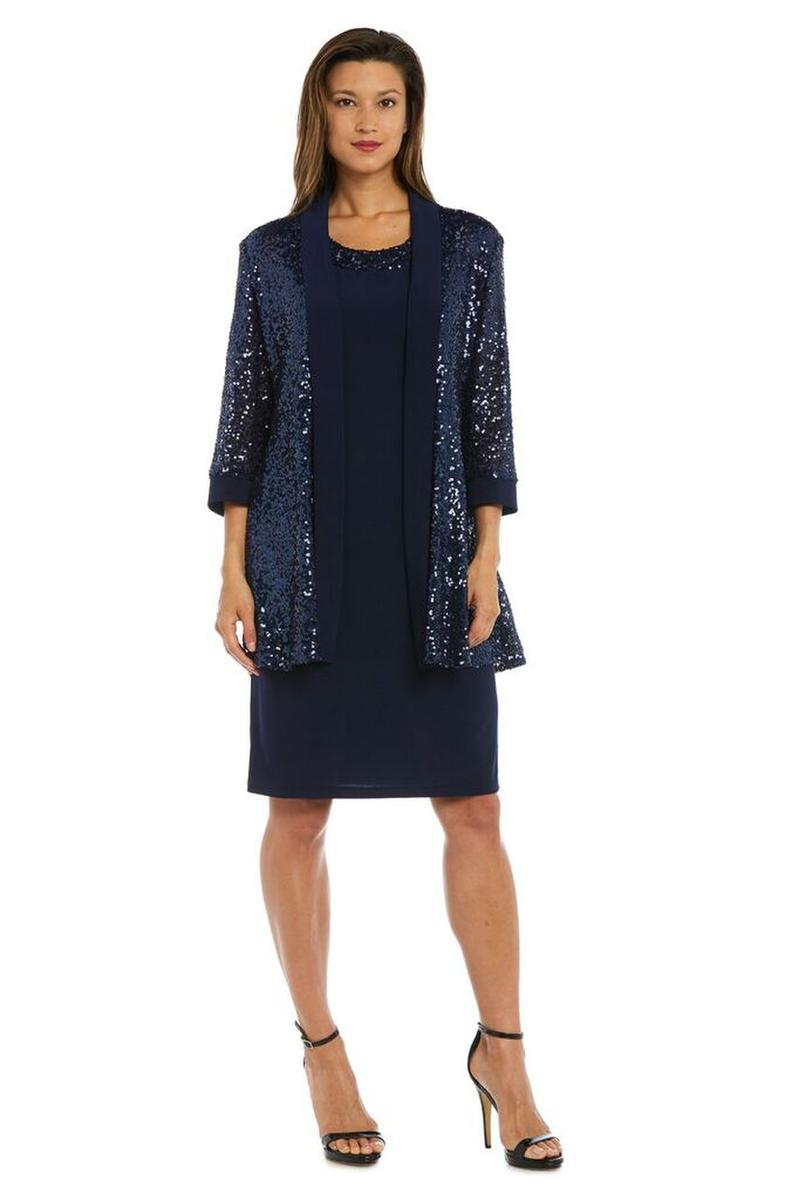 R & M Richards - Two Piece Jersey Dress Sequin Jacket