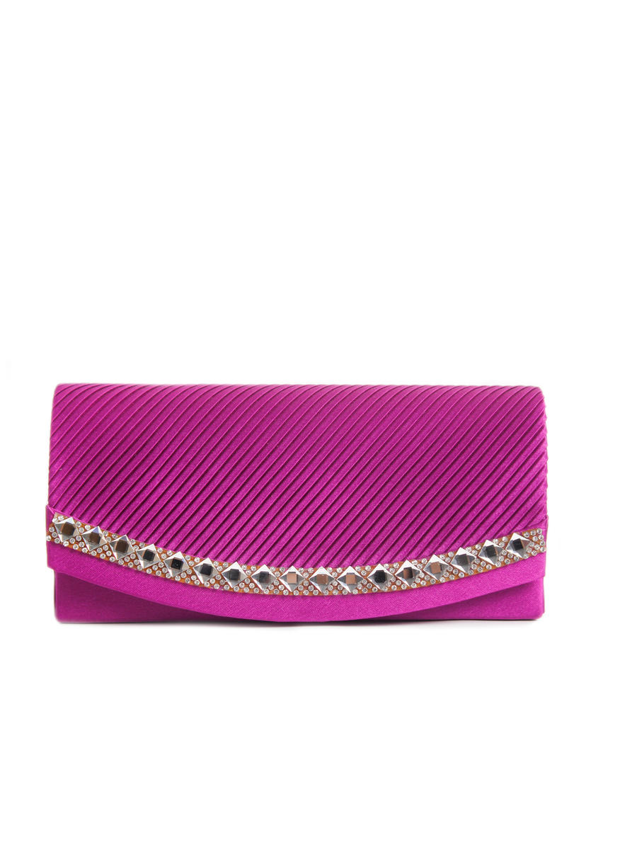 NIMA ACCESSORIES INC - Pleated Satin Rhinestone Trim Clutch