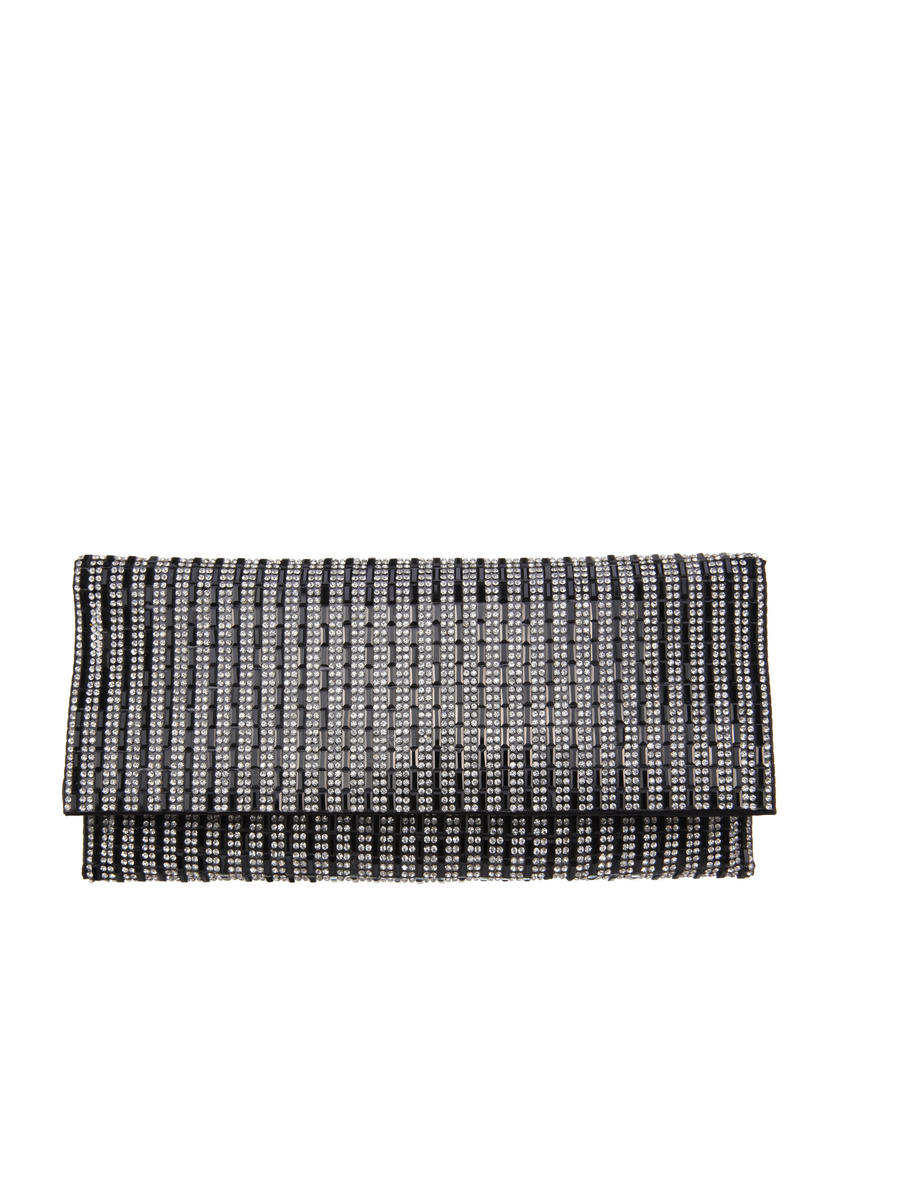 NINA FOOTWEAR CORP - Black And White Striped Rhinestone Clutch