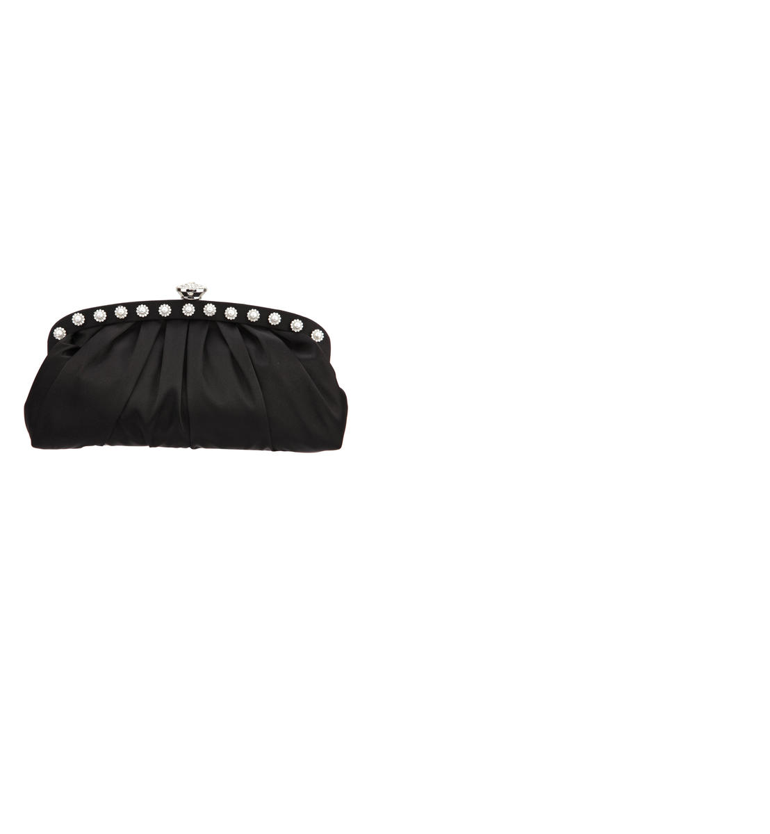 Soft pleated bag/ Pearl Trim Rheinstone Snap