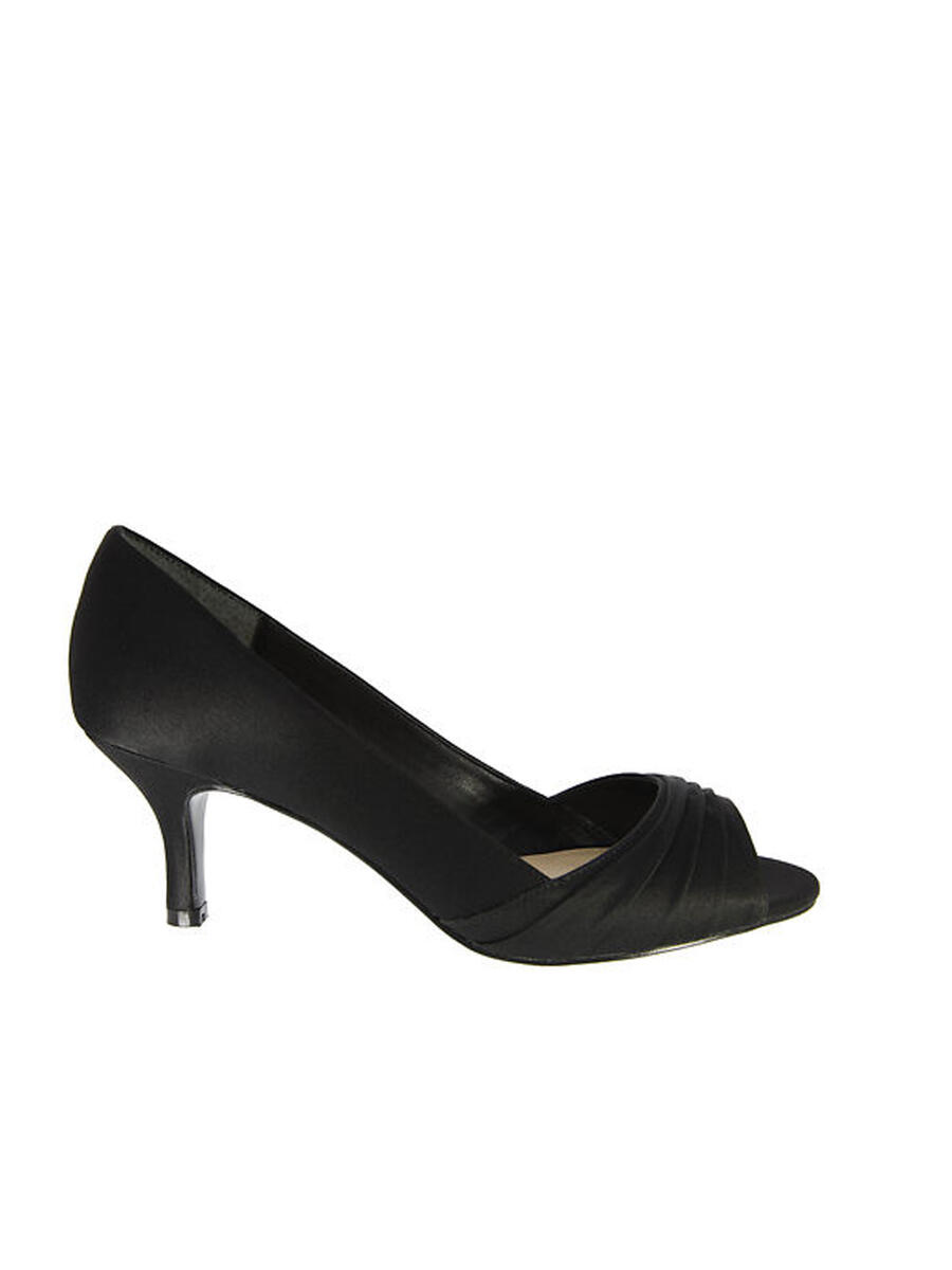 NINA FOOTWEAR CORP - Pleated Satin Low-Heel Peep-Toe