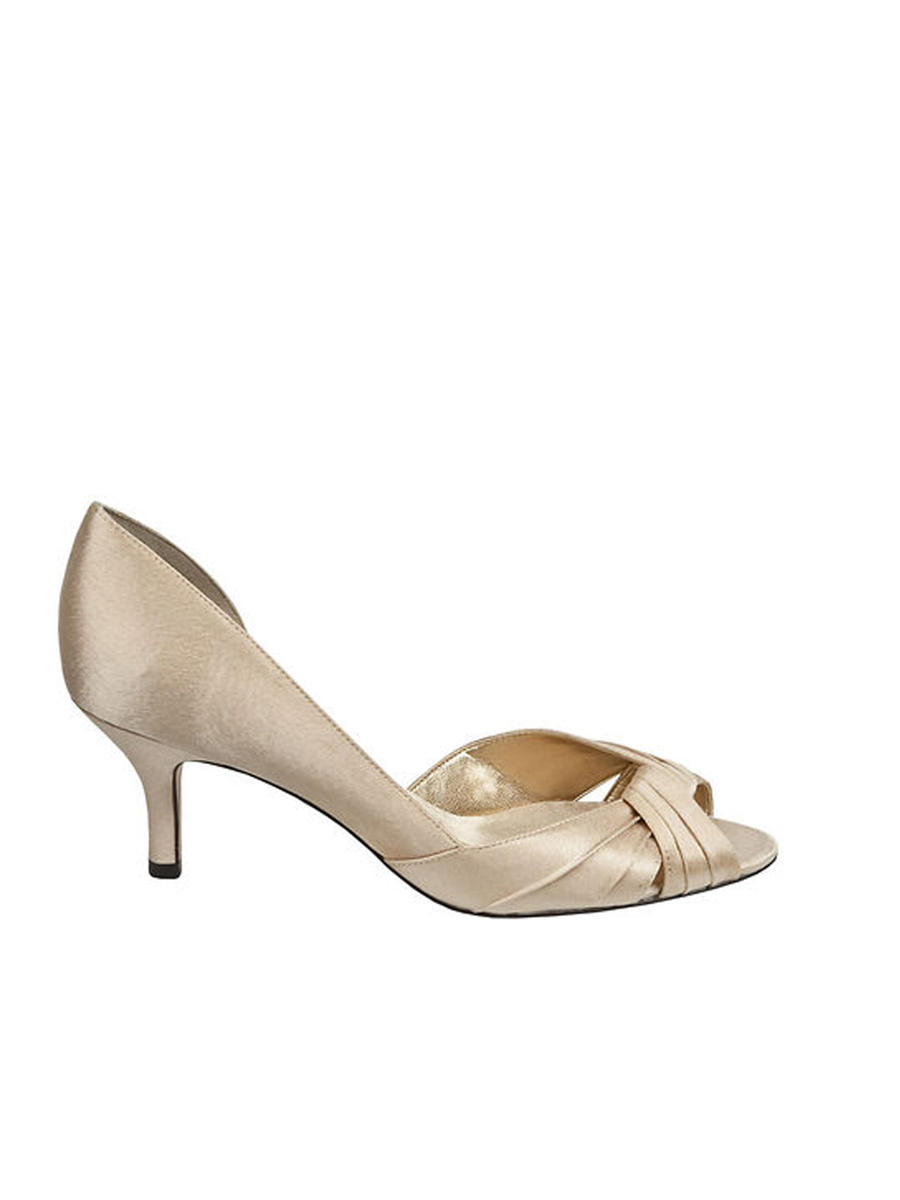 NINA FOOTWEAR CORP - 16Satin Low-Heel Peep-Toe Pump