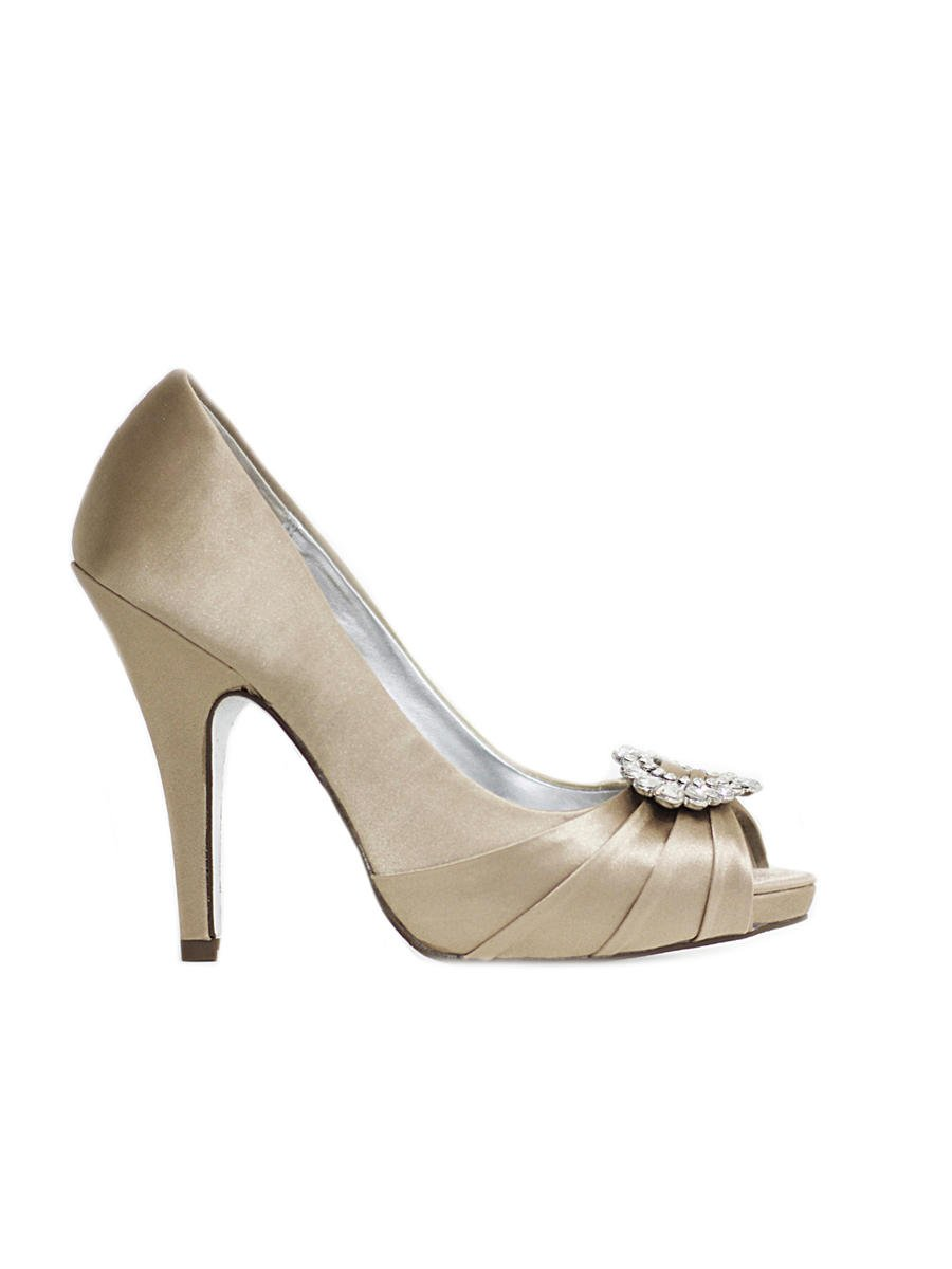 NINA FOOTWEAR CORP - Pleated Satin Peep-Toe Pump