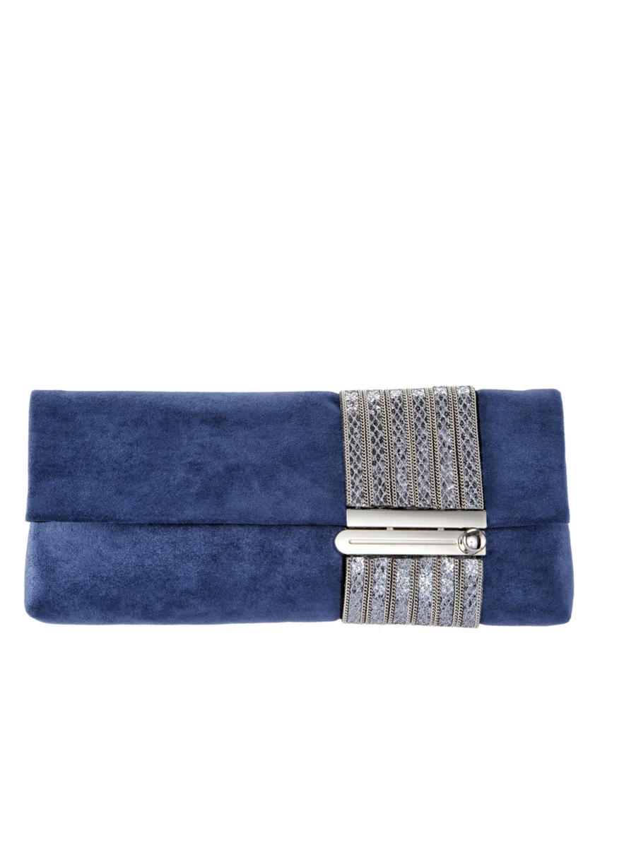 Nina Footwear - Adorned Lock Closure Clutch Reflective Glam Suedet