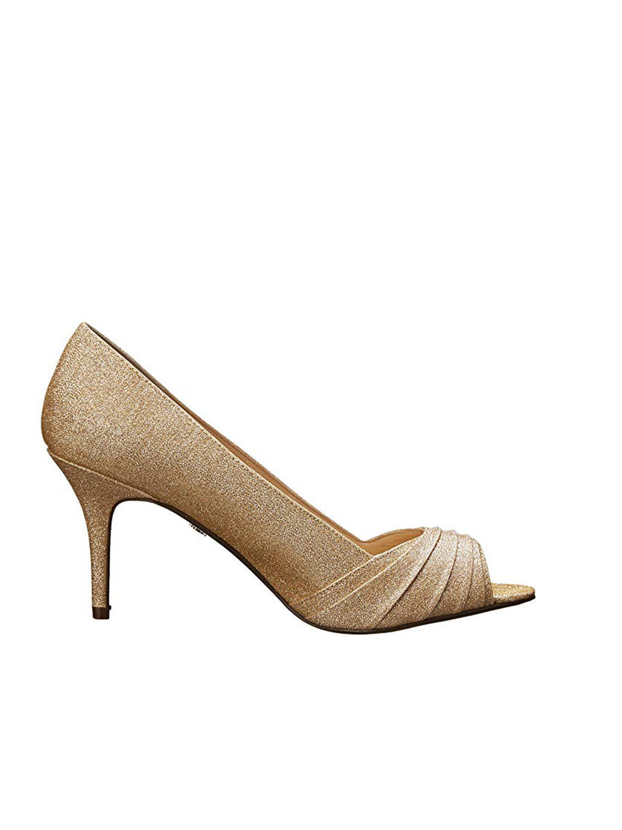 NINA FOOTWEAR CORP - Pleated Glitter Peep-Toe Pump
