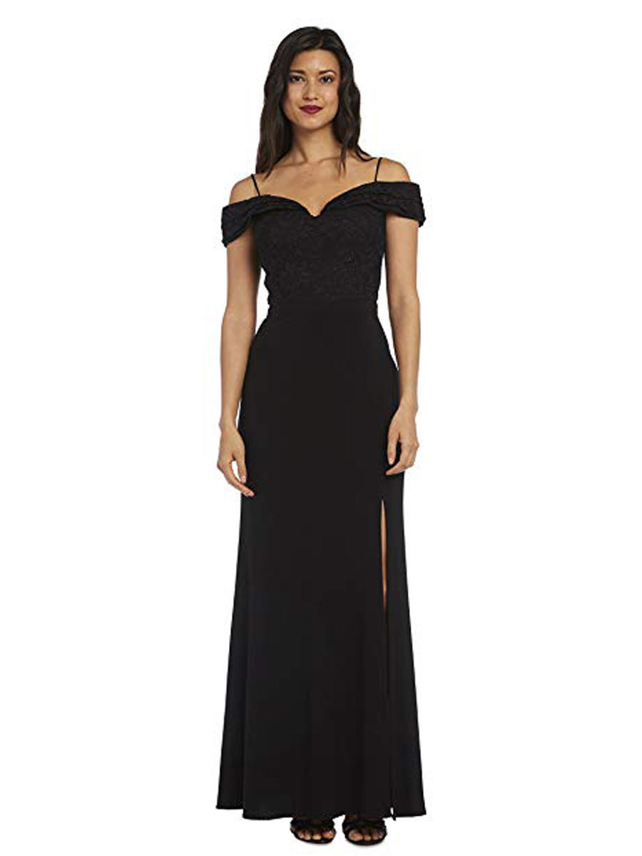 NIGHTWAY - Petite Lace & Jersey Off-The-Shoulder Gown