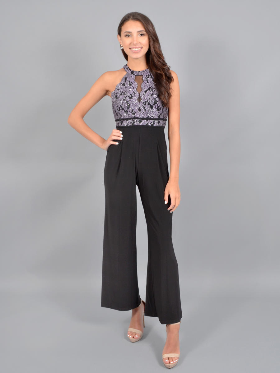 NIGHTWAY - Halter Jumpsuit-Metallic Lace Bodice