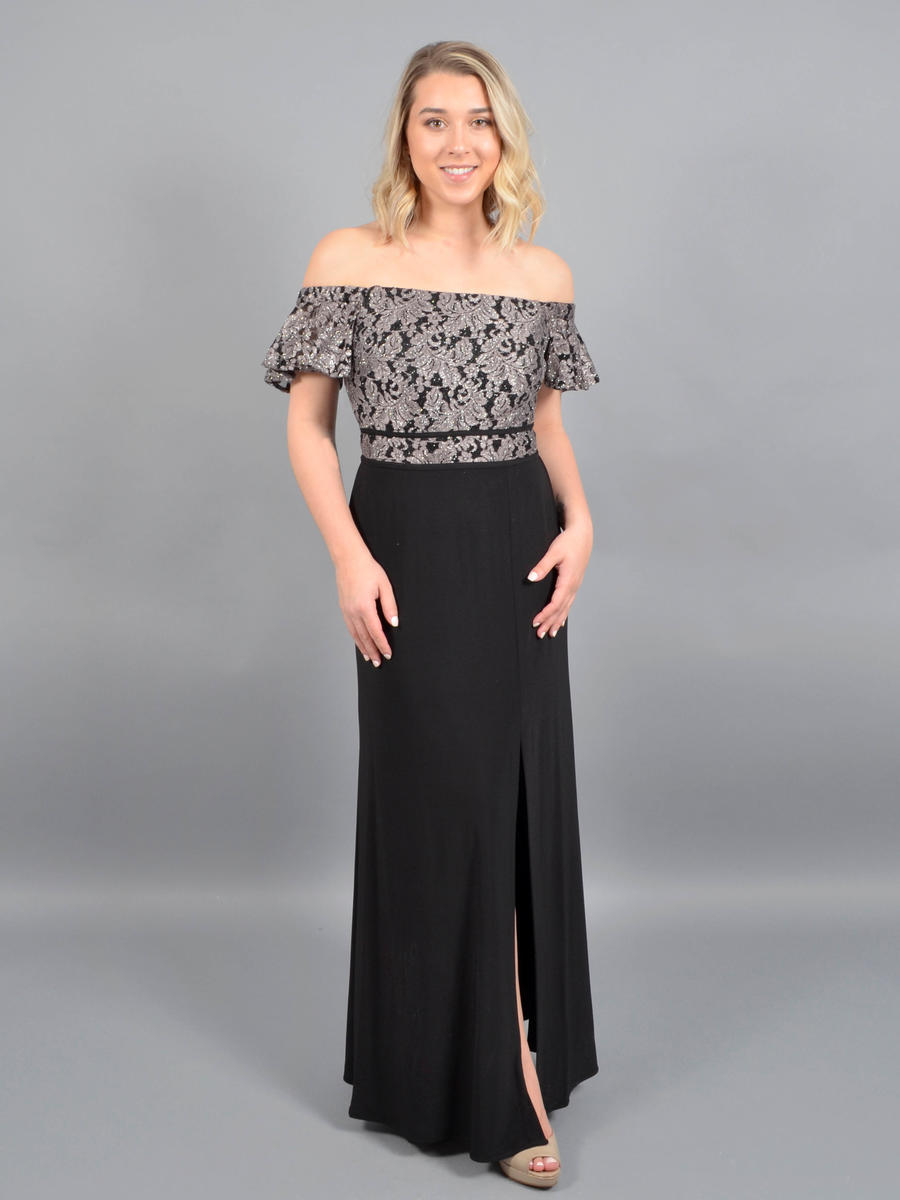 NIGHTWAY - Off-Shoulder Lace Metallic Gown