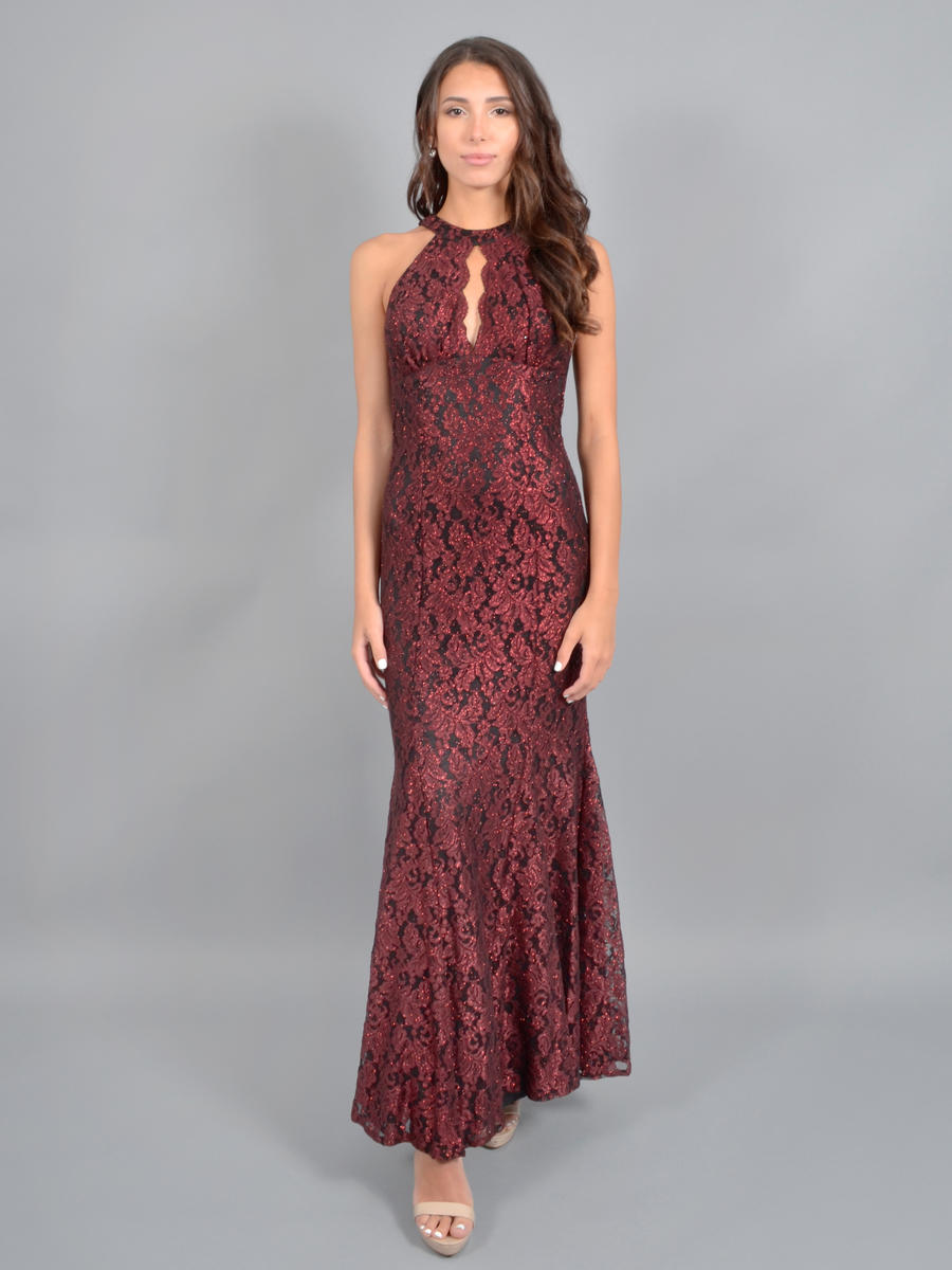 NIGHTWAY - Metallic Lace Halter Gown