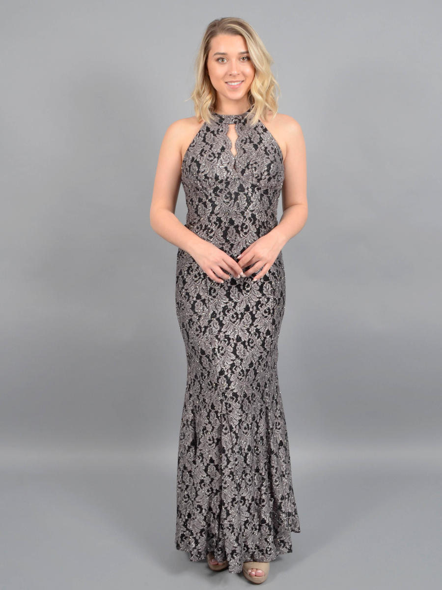 NIGHTWAY - Lace Metallic Gown Halter Neck