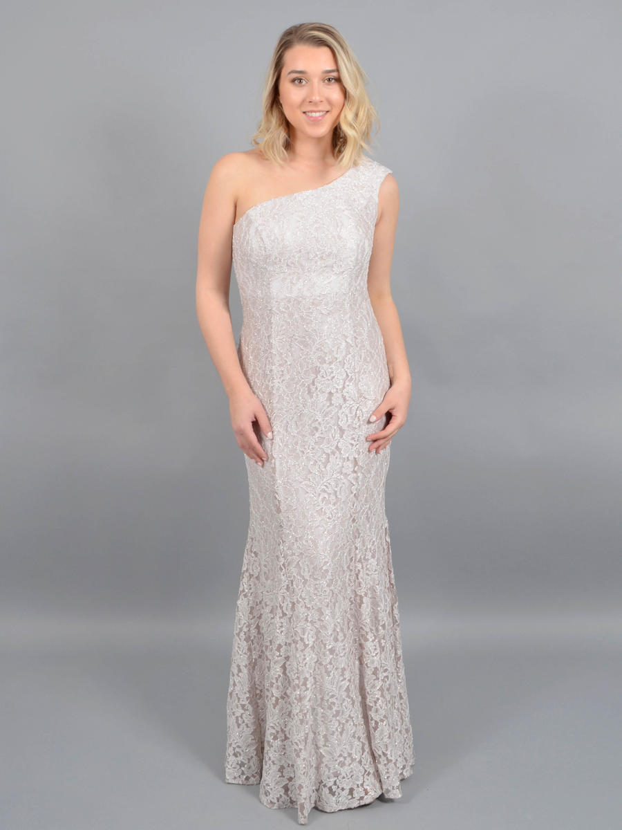 NIGHTWAY - One-Shoulder Lace Metallic Gown