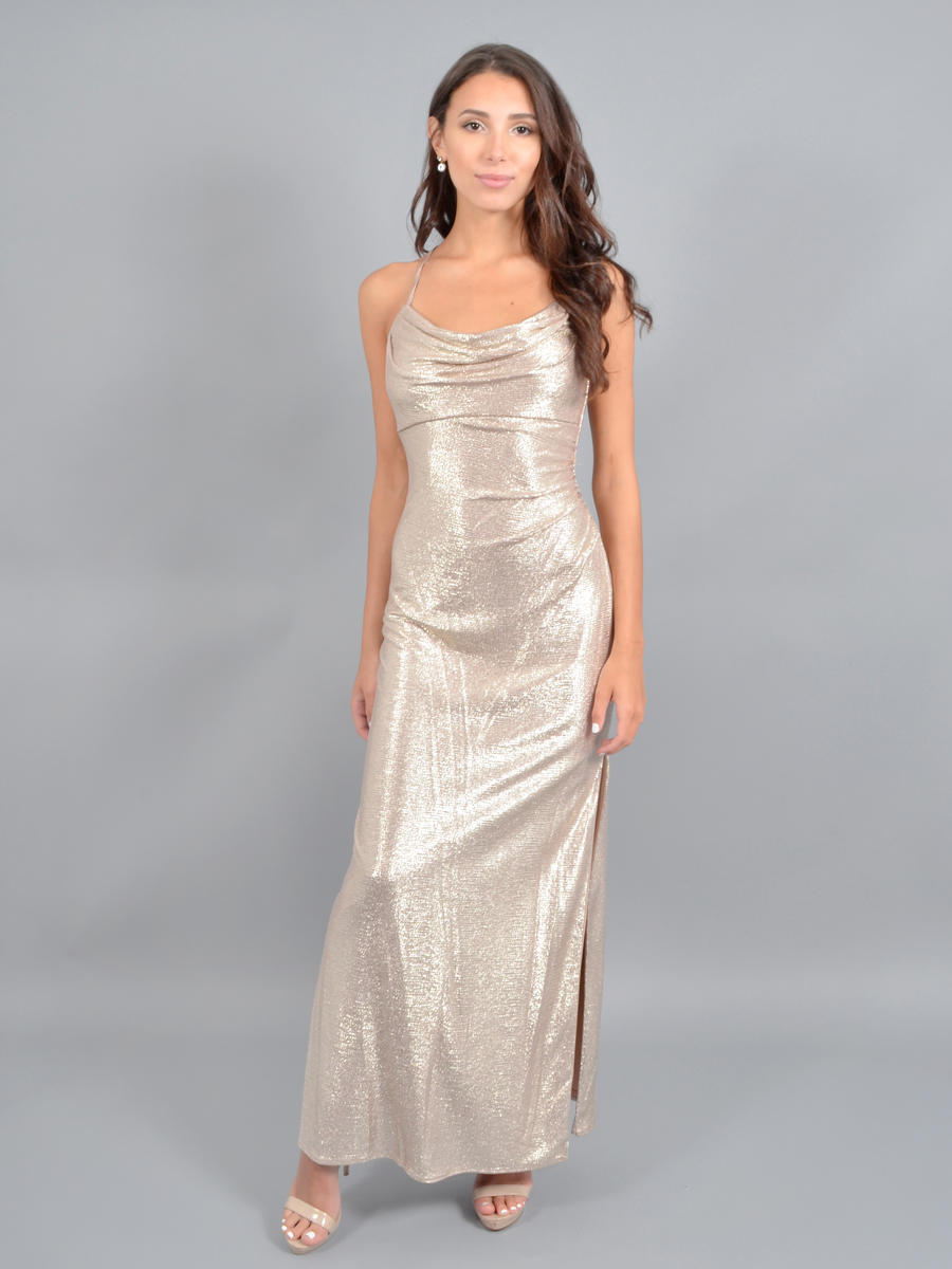 NIGHTWAY - Metallic Gown-Wrap Waist-xxBack