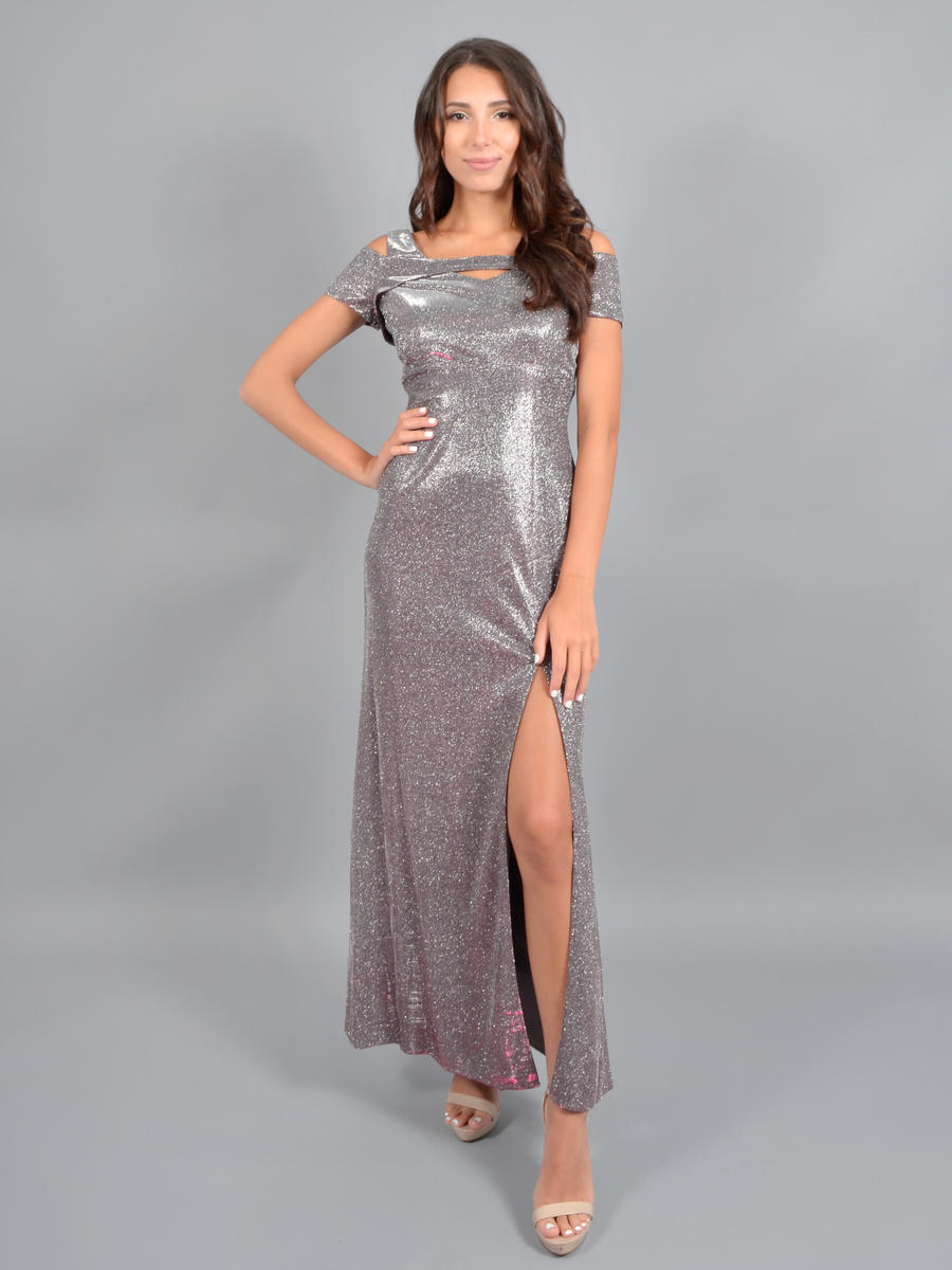 NIGHTWAY - Off Shoulder Metallic Gown