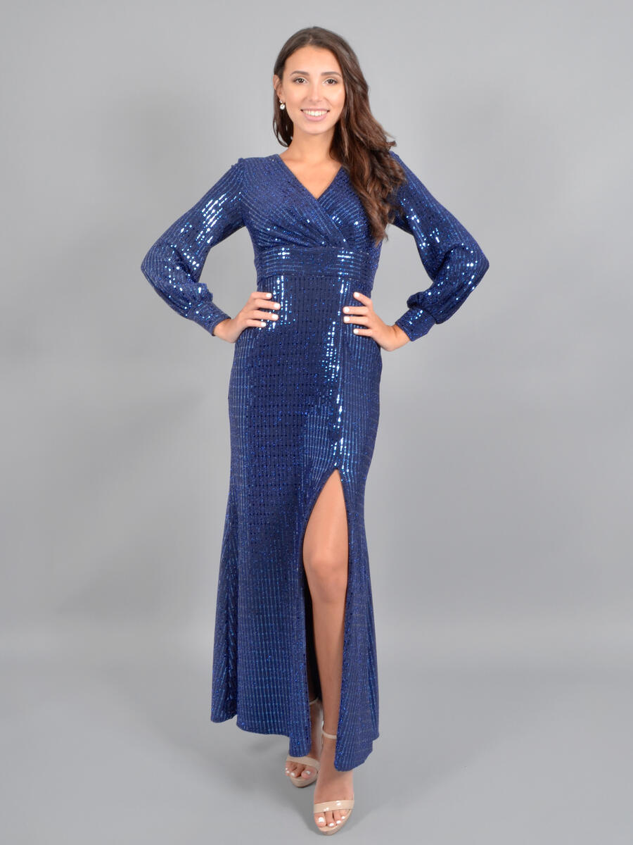 NIGHTWAY - Long Sleeve Metallic Gown
