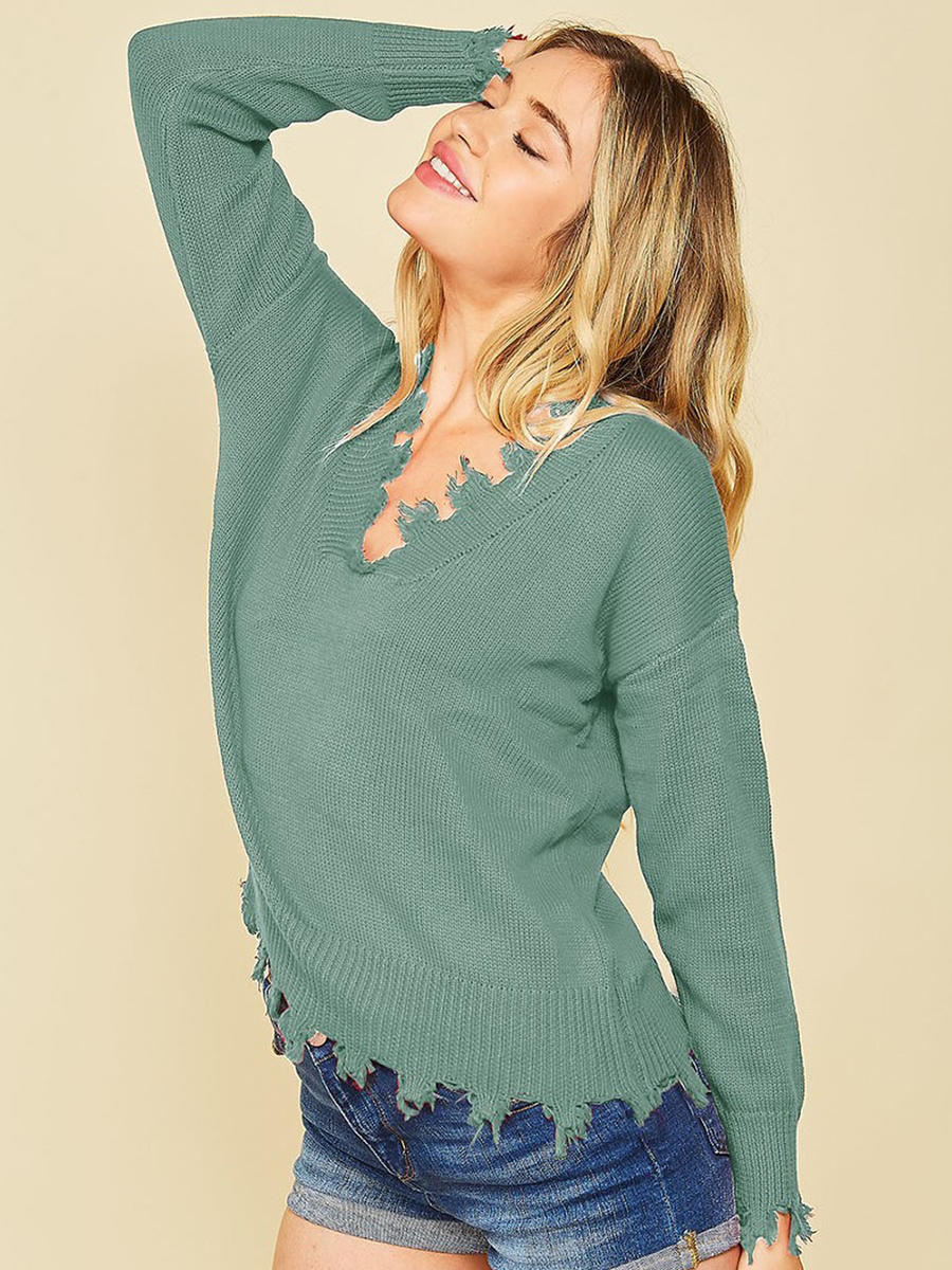 peach - FRAYED PULLOVER SWEATER