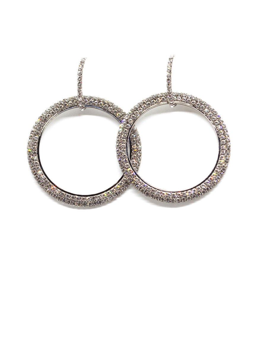PIN &TUBE - Large Rhinestone Drop Hoop Earring