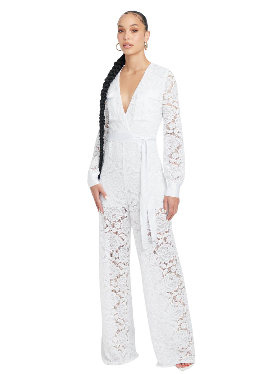 BEBE - Lace Long Sleeve Jumpsuit