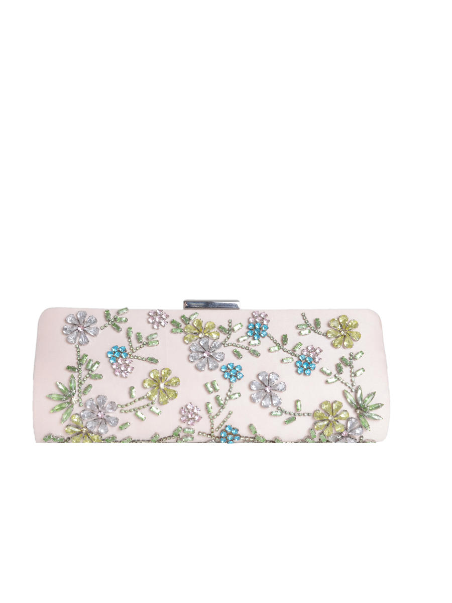 PAN OCEANIC EYEWARE / REGAL - Floral Rhinestone Snap Lock Clutch