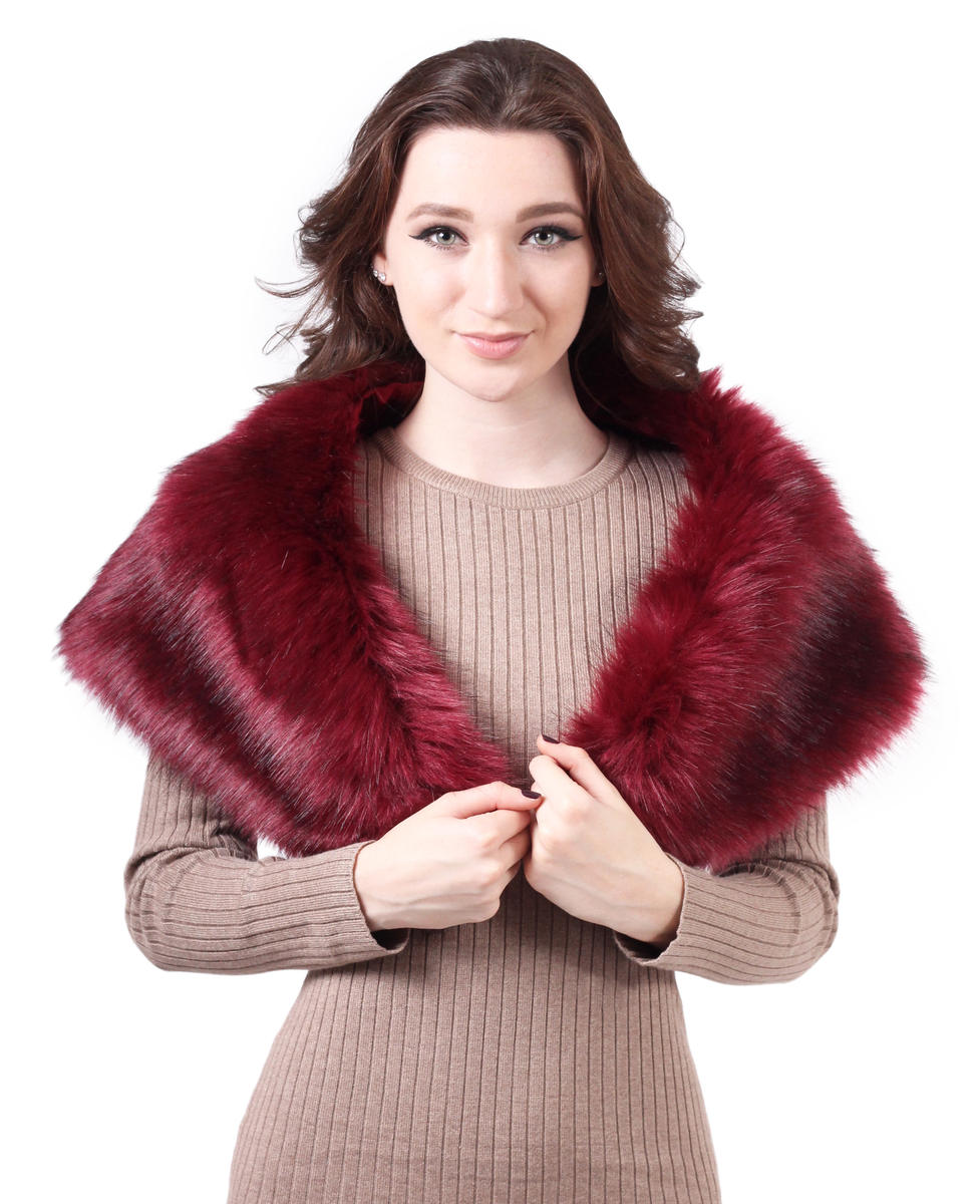 PAN OCEANIC EYEWARE / REGAL - Faux Fur Shrug with Satin Lining