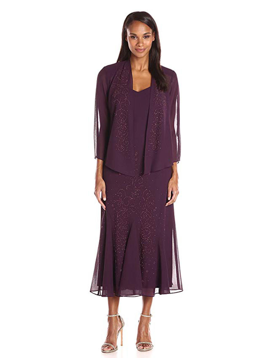 R & M Richards - Beaded V-Neck Chiffon Dress with Jacket