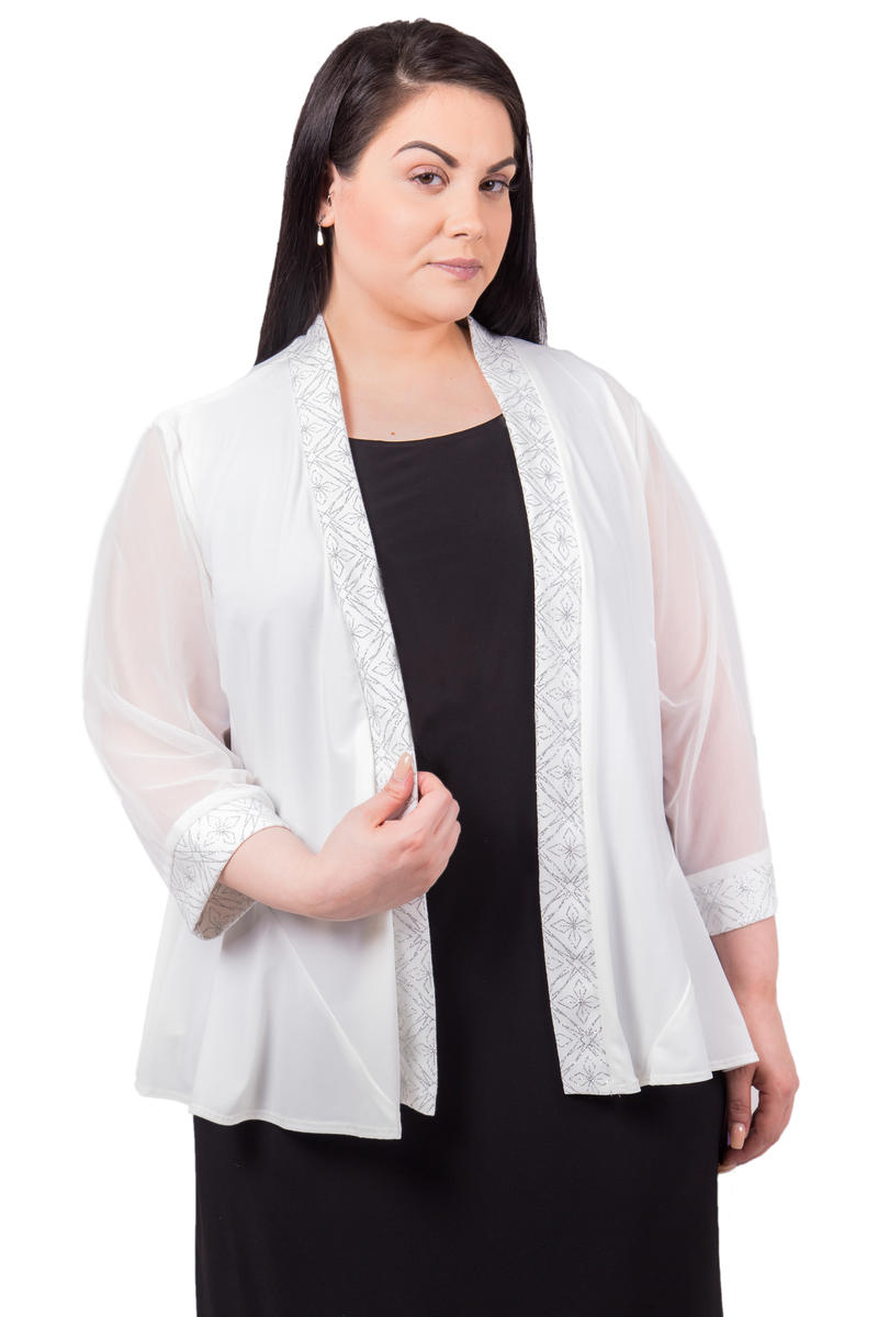 R & M Richards - Plus Size Beaded Chiffon Jacket