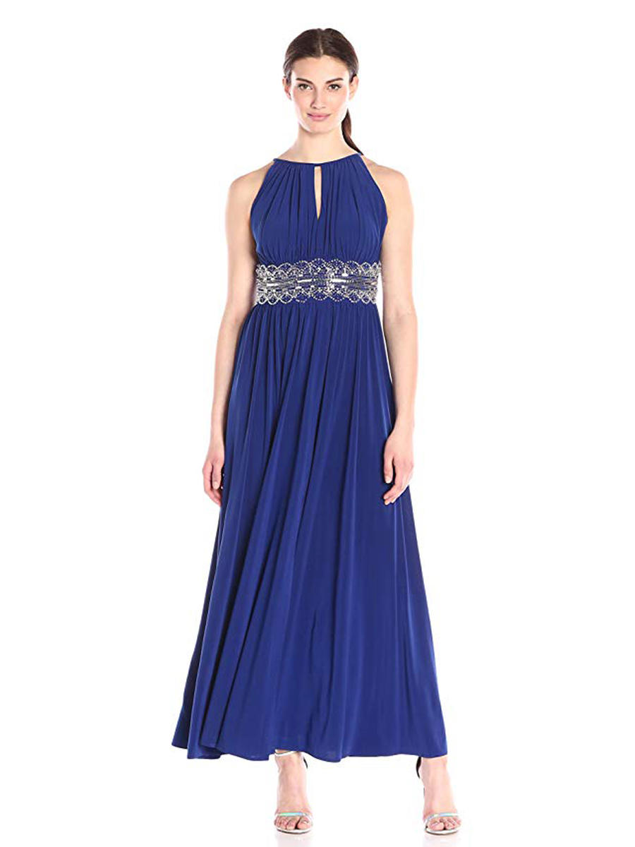R & M Richards - Keyhole Jersey Embellished Waist Gown