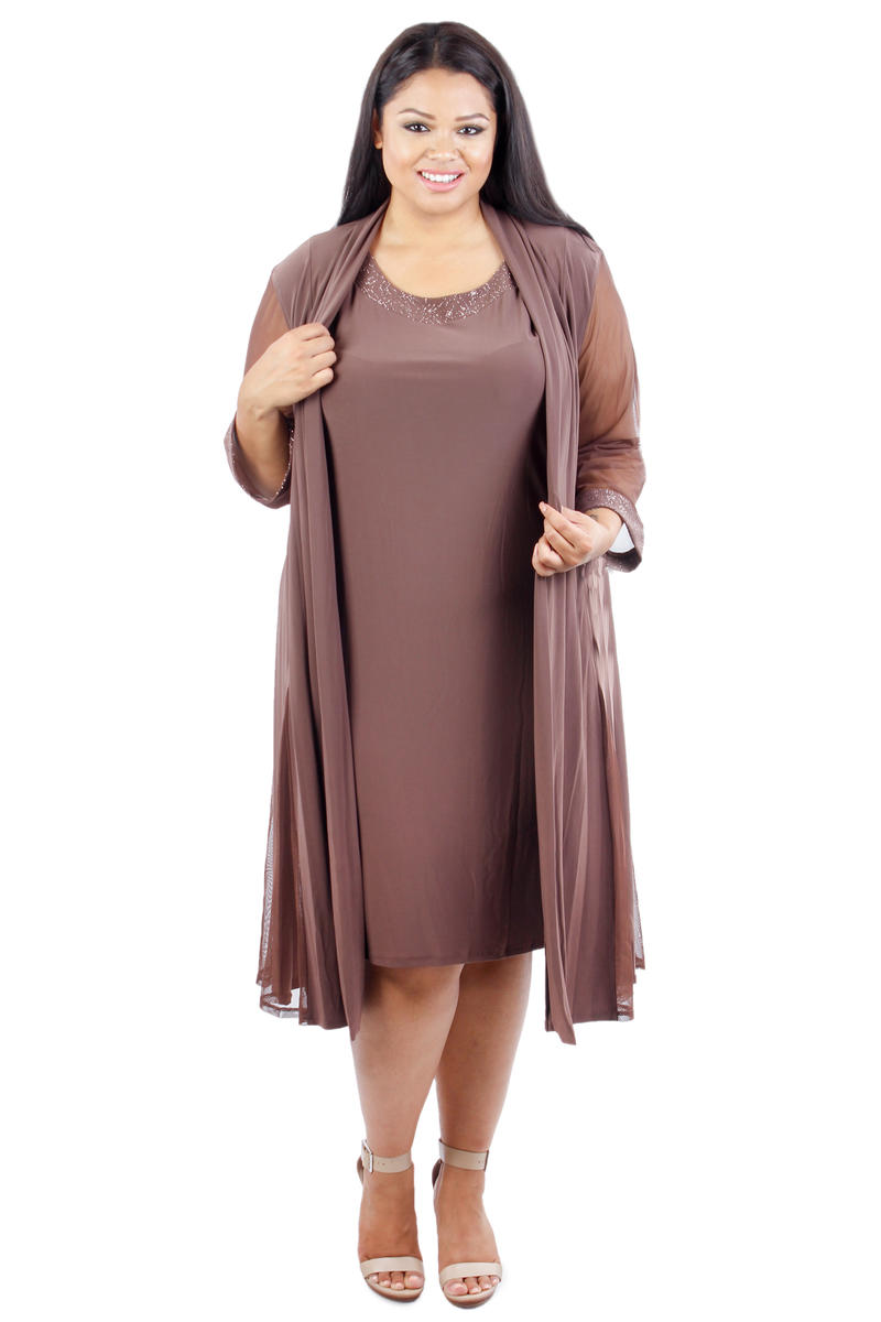 Plus Size Sheath & Sheer-Sleeve Glitter Jacket