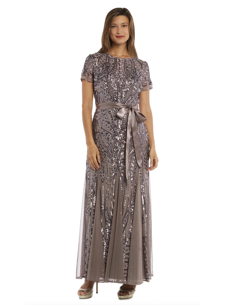 R & M Richards - Petite Short Sleeve Sequin Gown