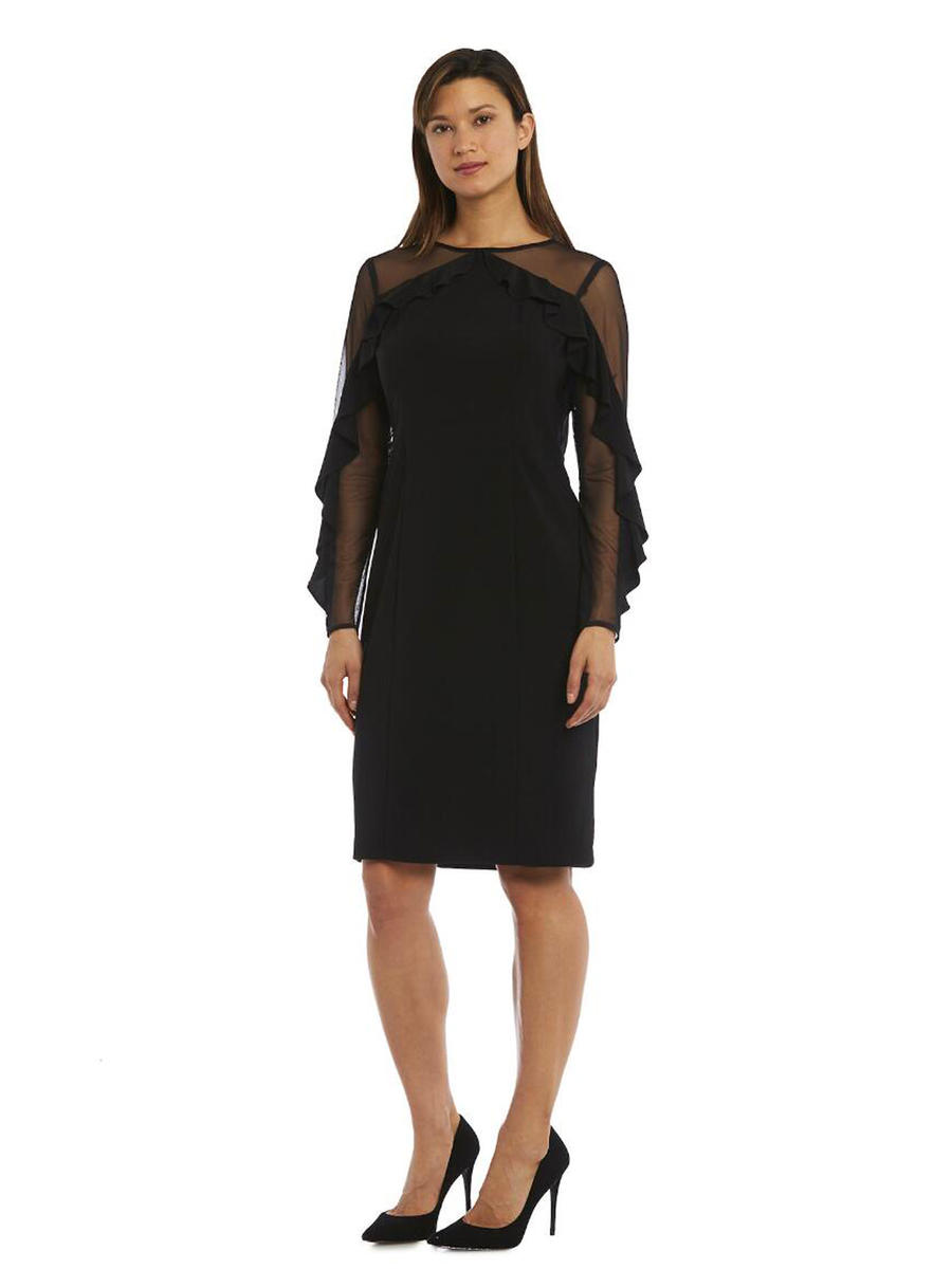 R & M Richards - Long-Sleeved Illusion Sheath Dress