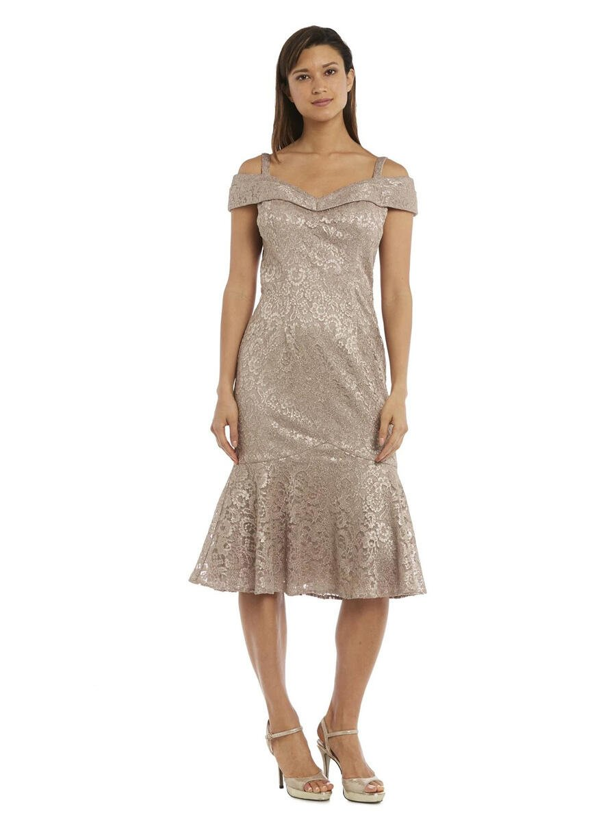 R & M Richards - Metallic Off-Shoulder Lace Dress