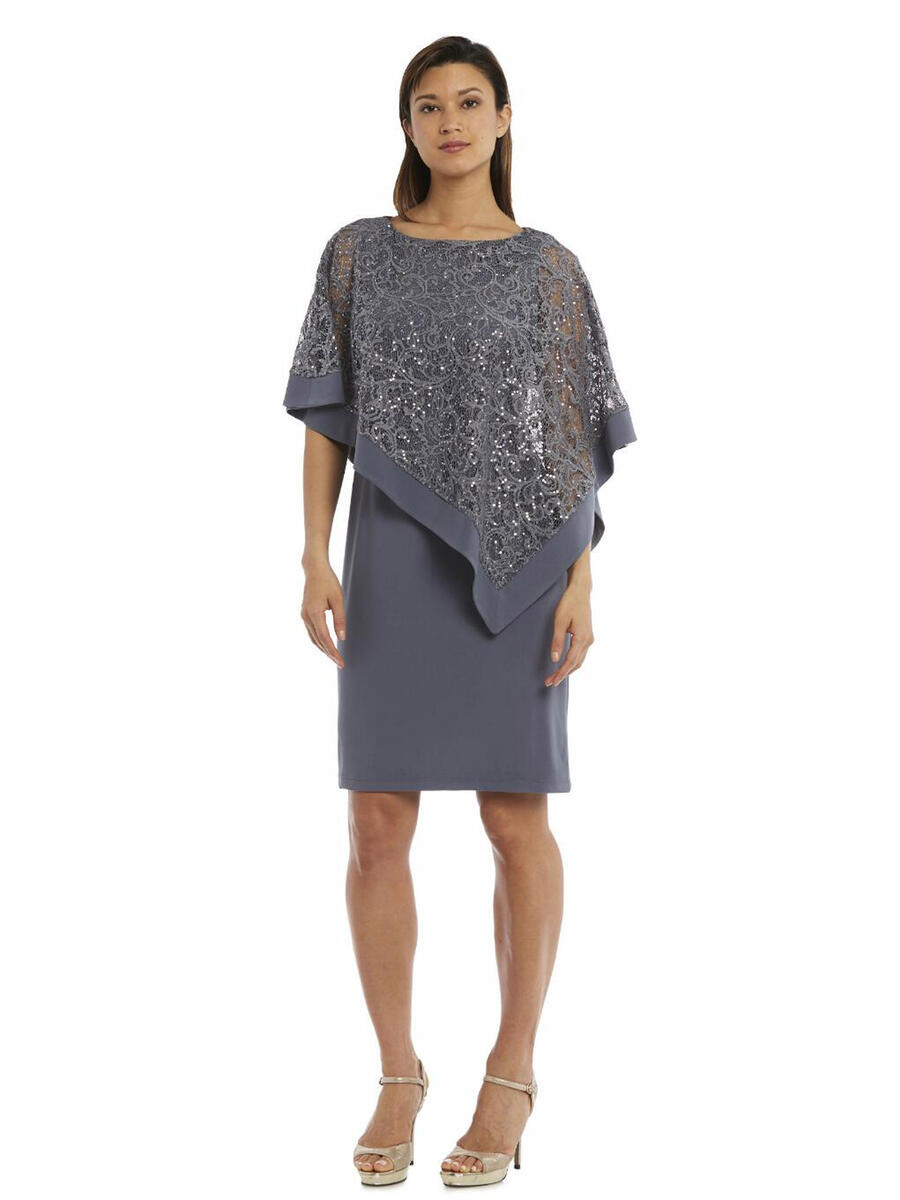 R & M Richards - Jersey Lace Metallic Mock Top Short Sleeve Dress