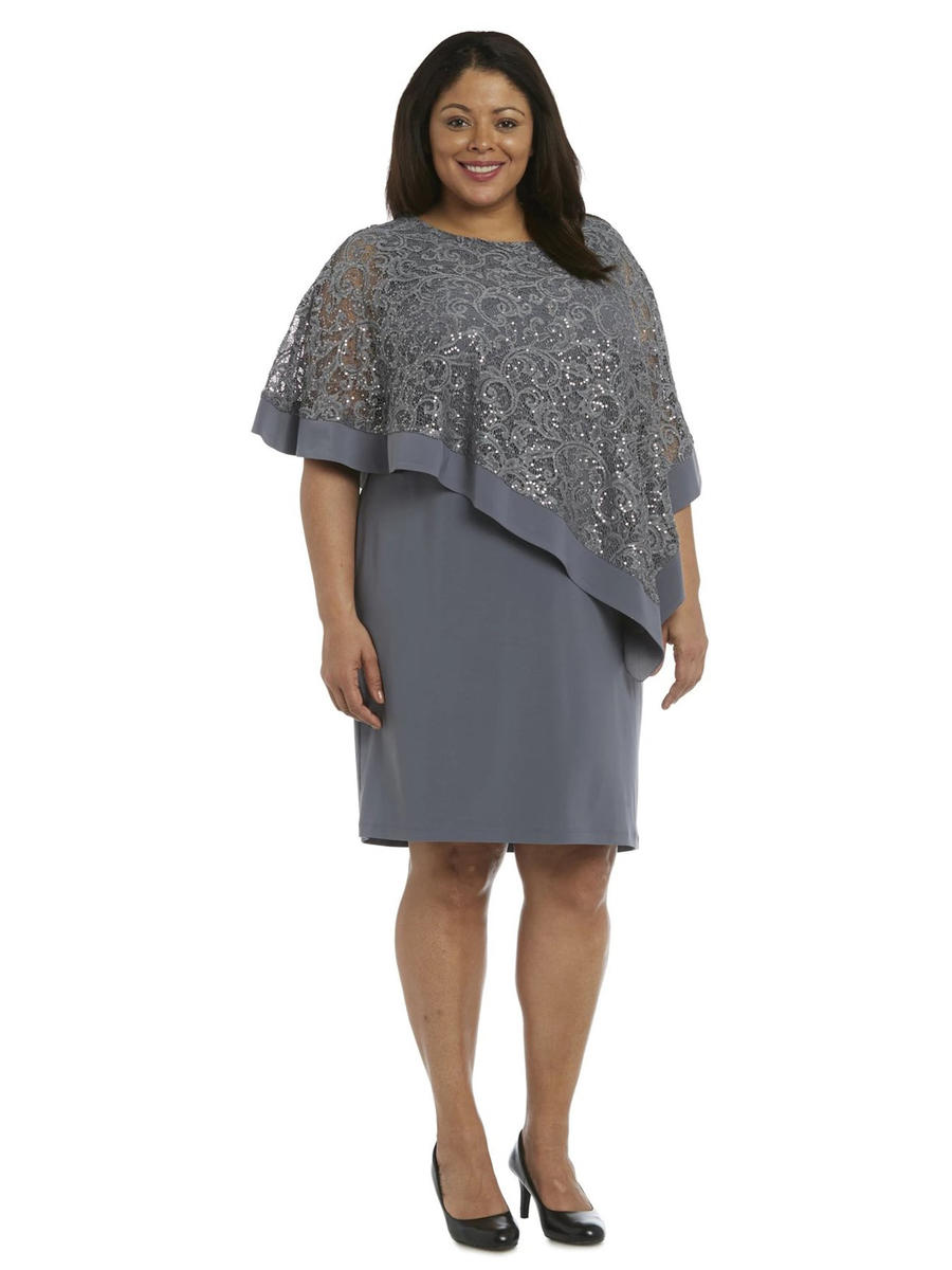 R & M Richards - Jersey Dress Lace Metallic Top