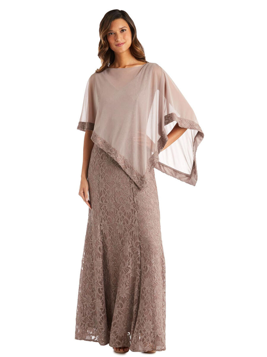 R & M Richards - 2 Piece Metallic Lace Gown-Chiffon Cape