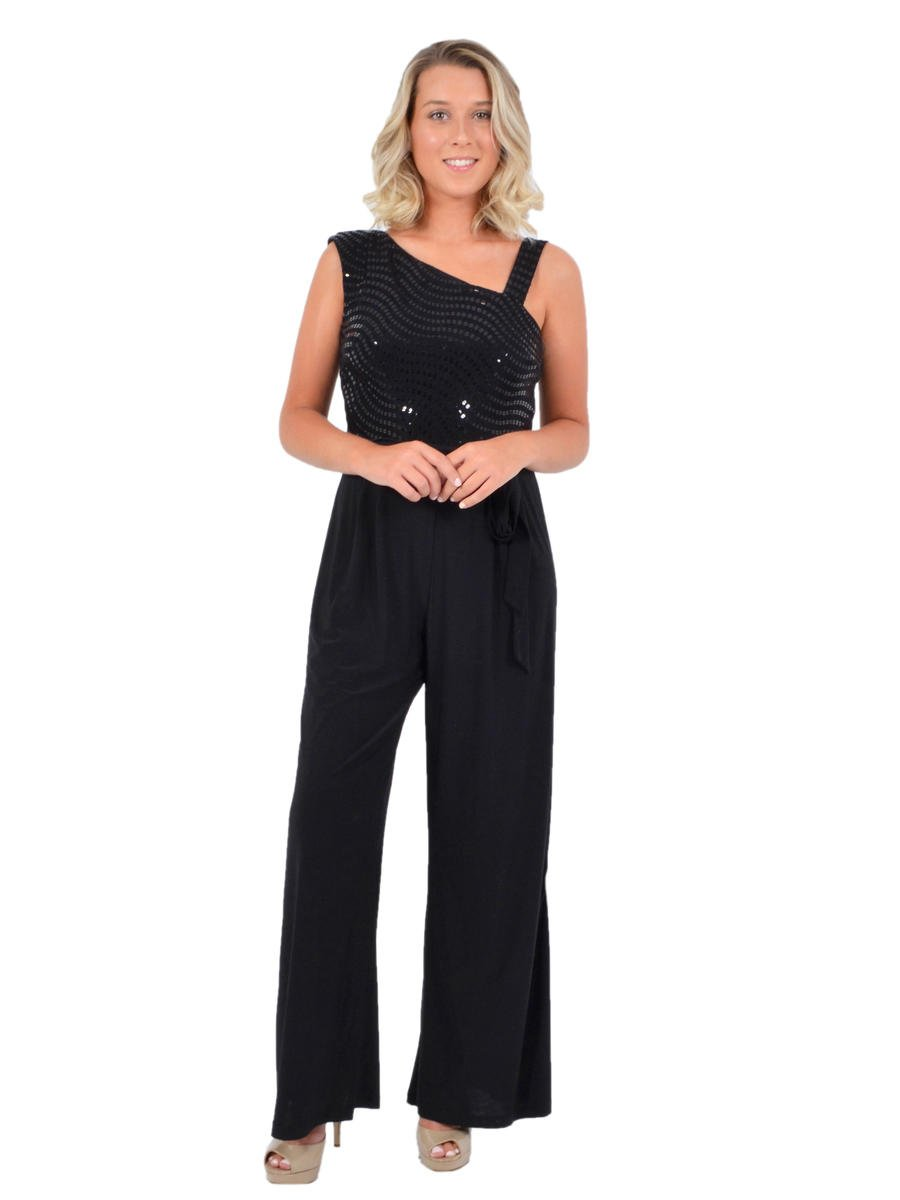 R & M Richards - Jersey Jumpsuit Metallic Bodice