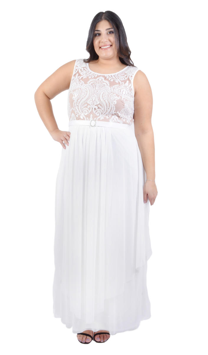 Embroidered Chiffon Flyaway Dress