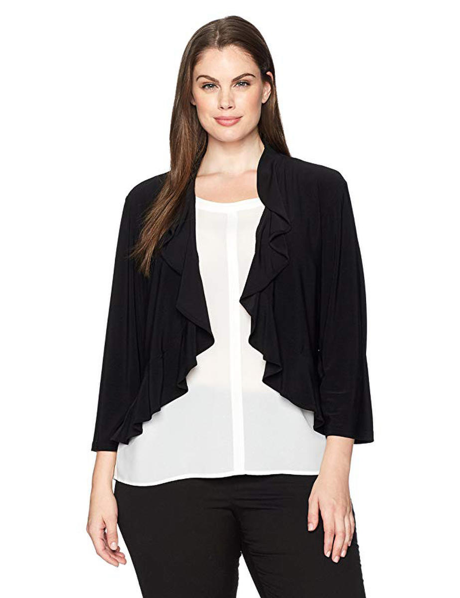 R & M Richards - Plus Size Jersey Ruffle Collar Jacket
