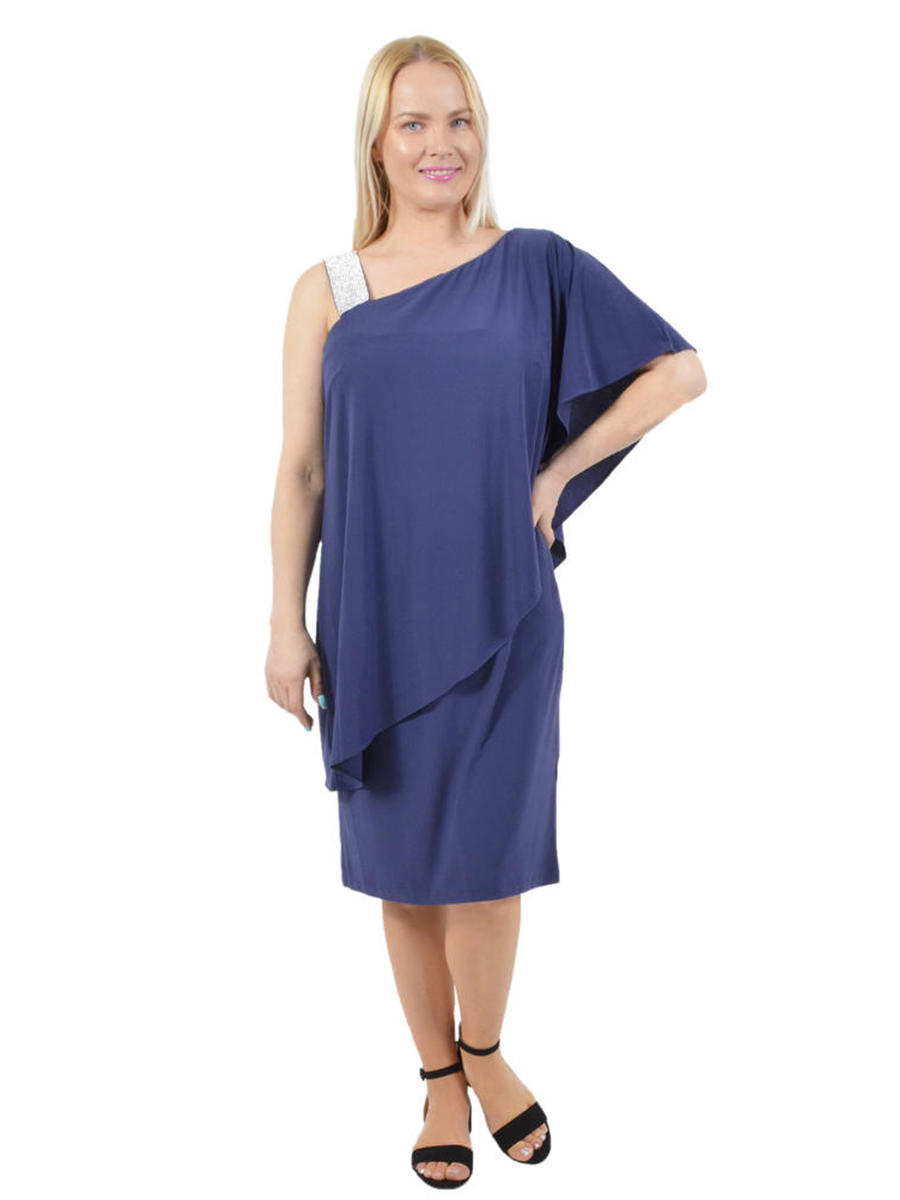 R & M Richards - Asymmetrical Jersey Popover Dress