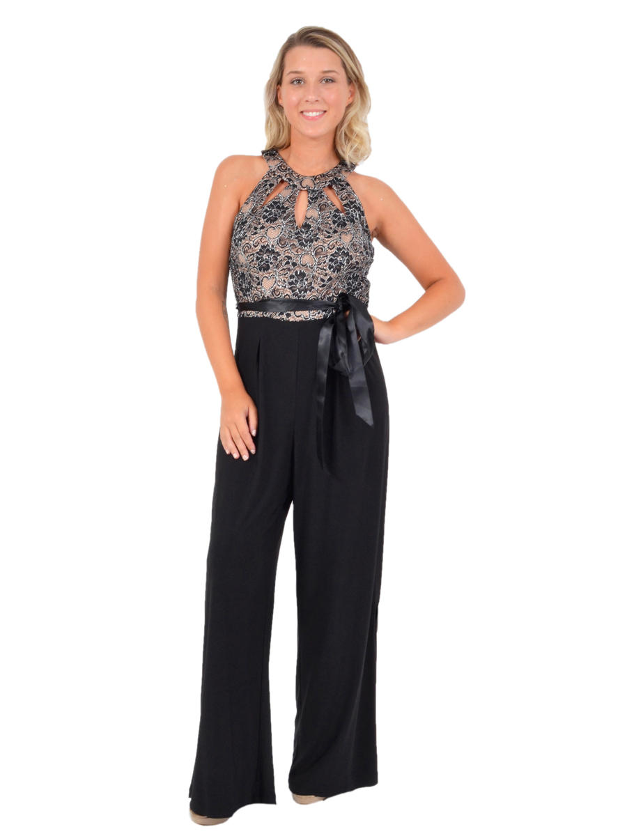 R & M Richards - Jersey Jumpsuit Lace Bodice