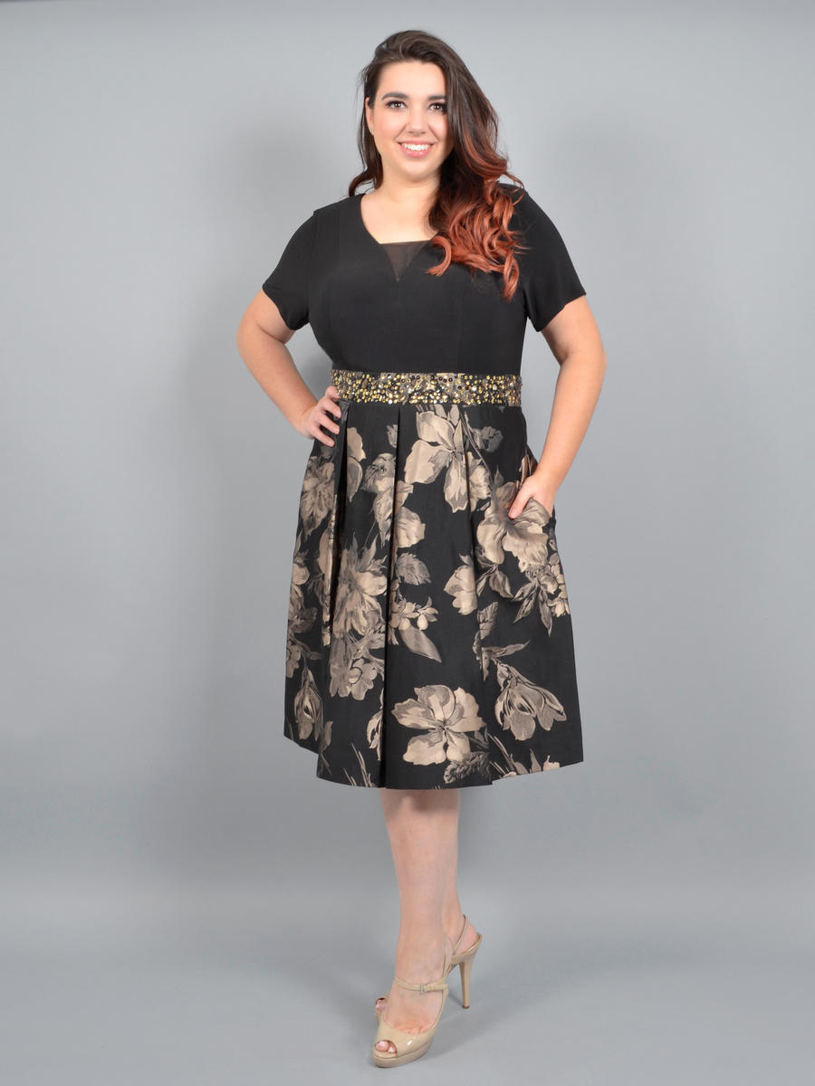 R & M Richards - Satin Brocade Dress Jersey Bodice