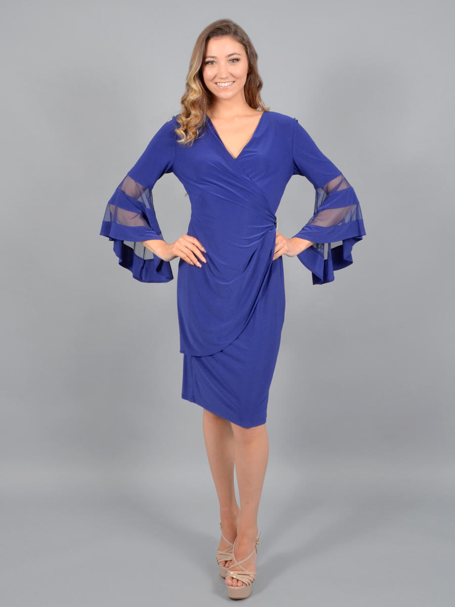R & M Richards - Long Sleeve Jersey Dress-Rhinestone