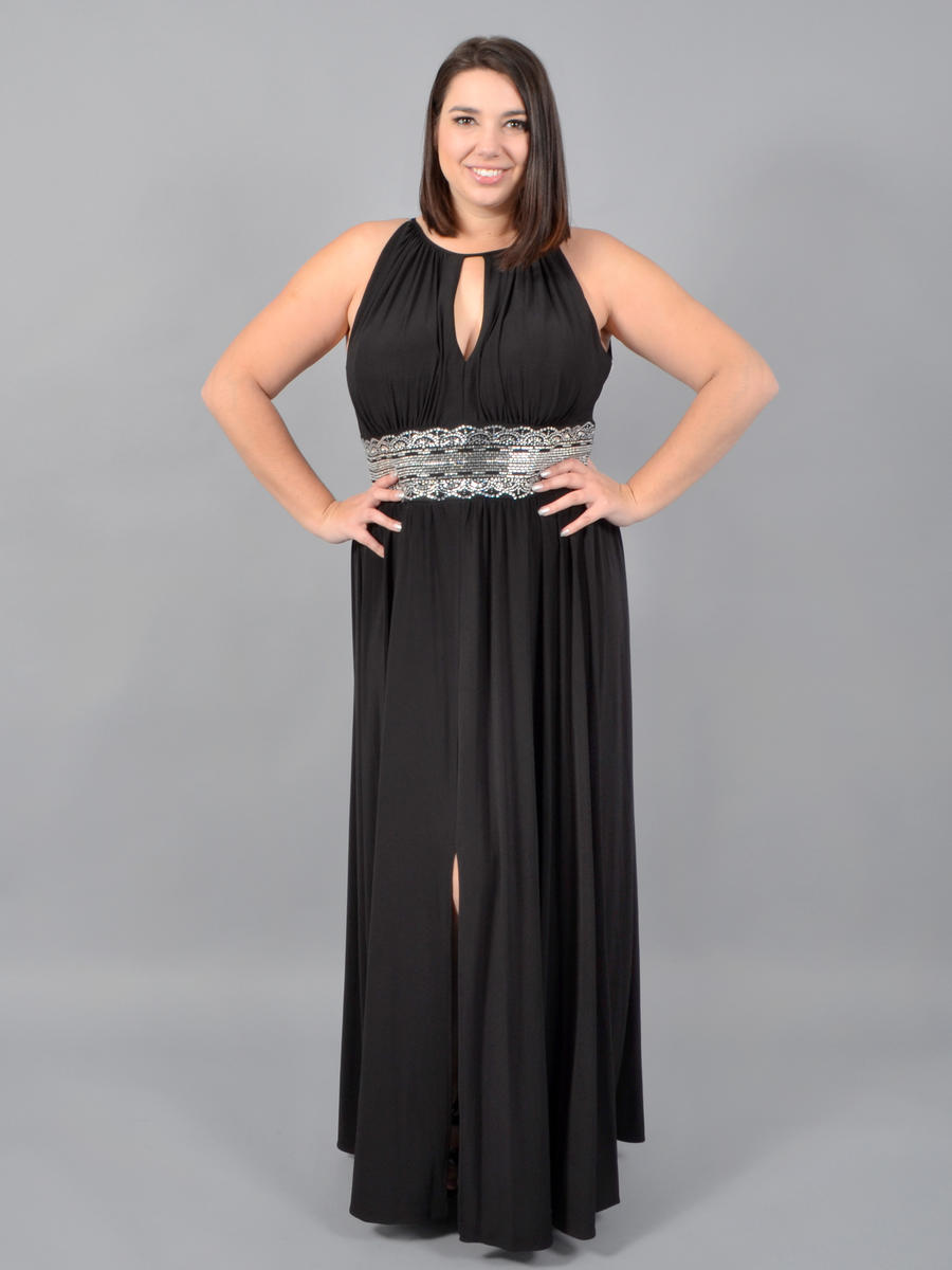 R & M Richards - Cutout Halter, Rhinestone Gown