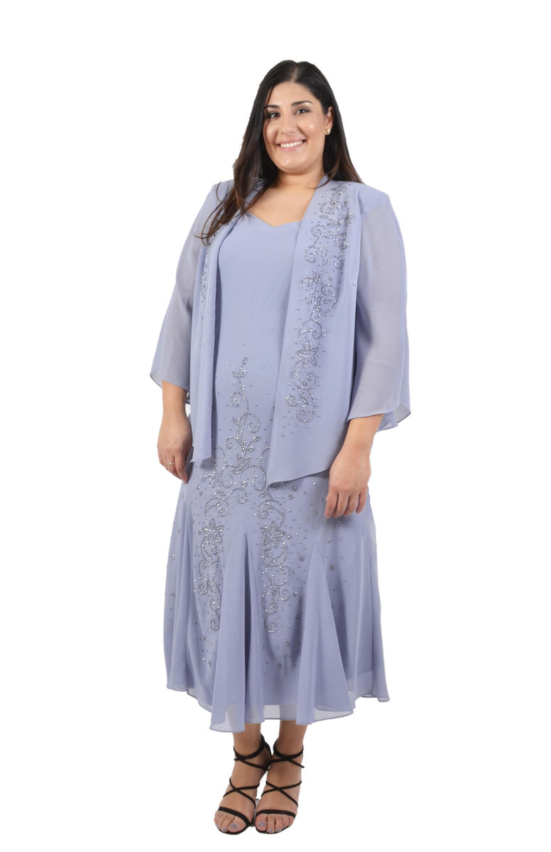 Plus Size Beaded Chiffon Dress with Jacket