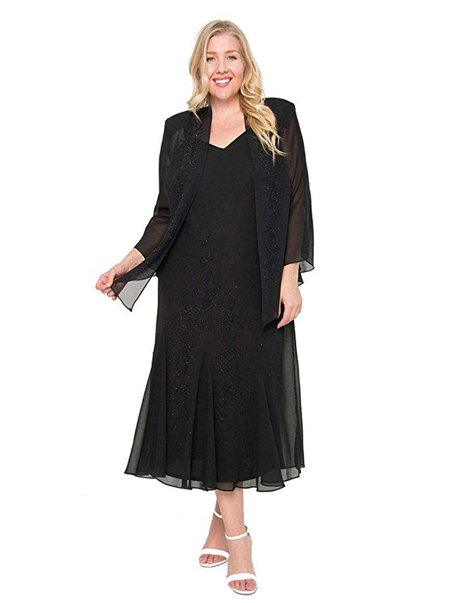 R & M Richards - Plus Size Beaded Chiffon Dress with Jacket