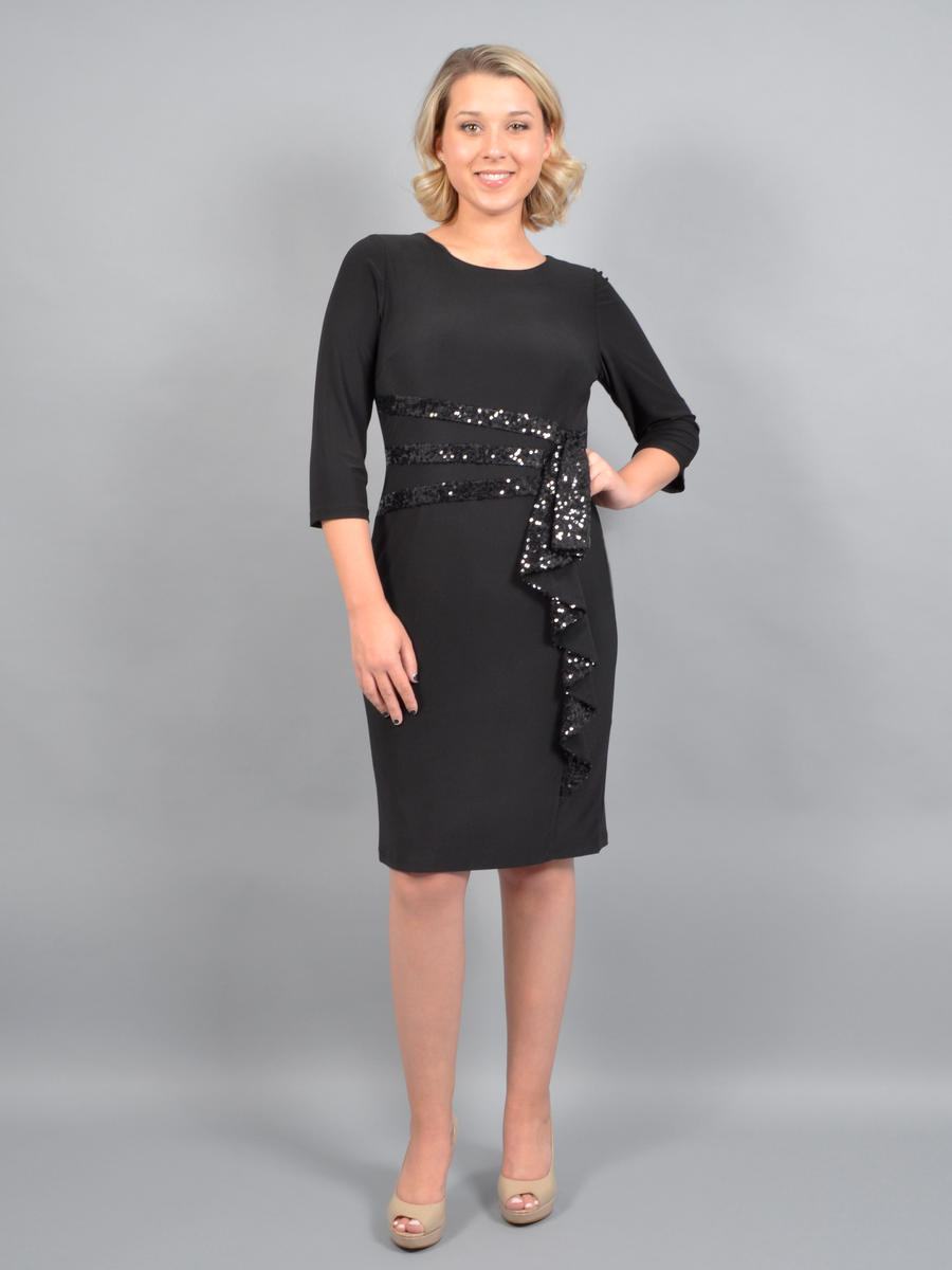 R & M Richards - Jersey Dress Sequin Long Sleeve