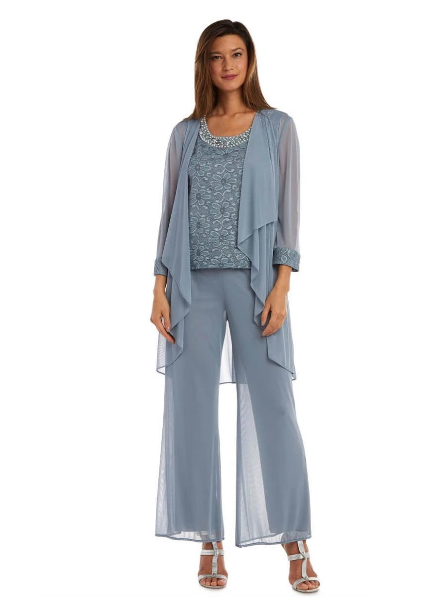 R & M Richards - 3 Piece Chiffon Pantset-Lace Cami/Jacket