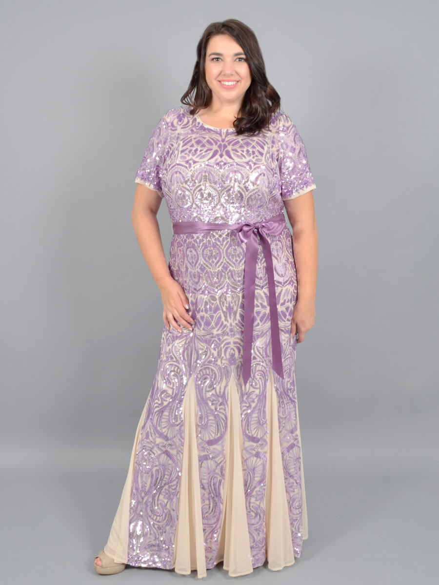 R & M Richards - Mesh Sequin Gown Short Sleeve 5048W