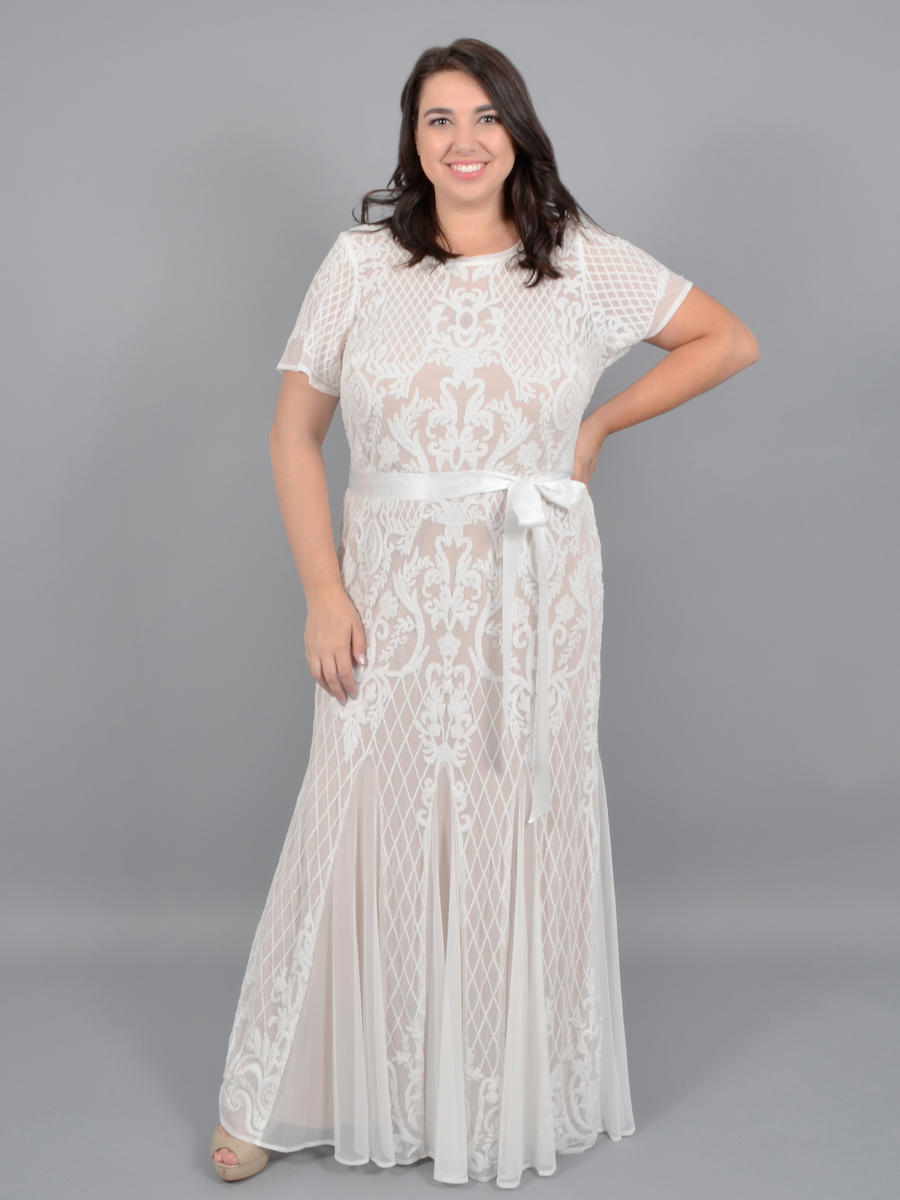 R & M Richards - Mesh Sequin Gown Short Sleeve