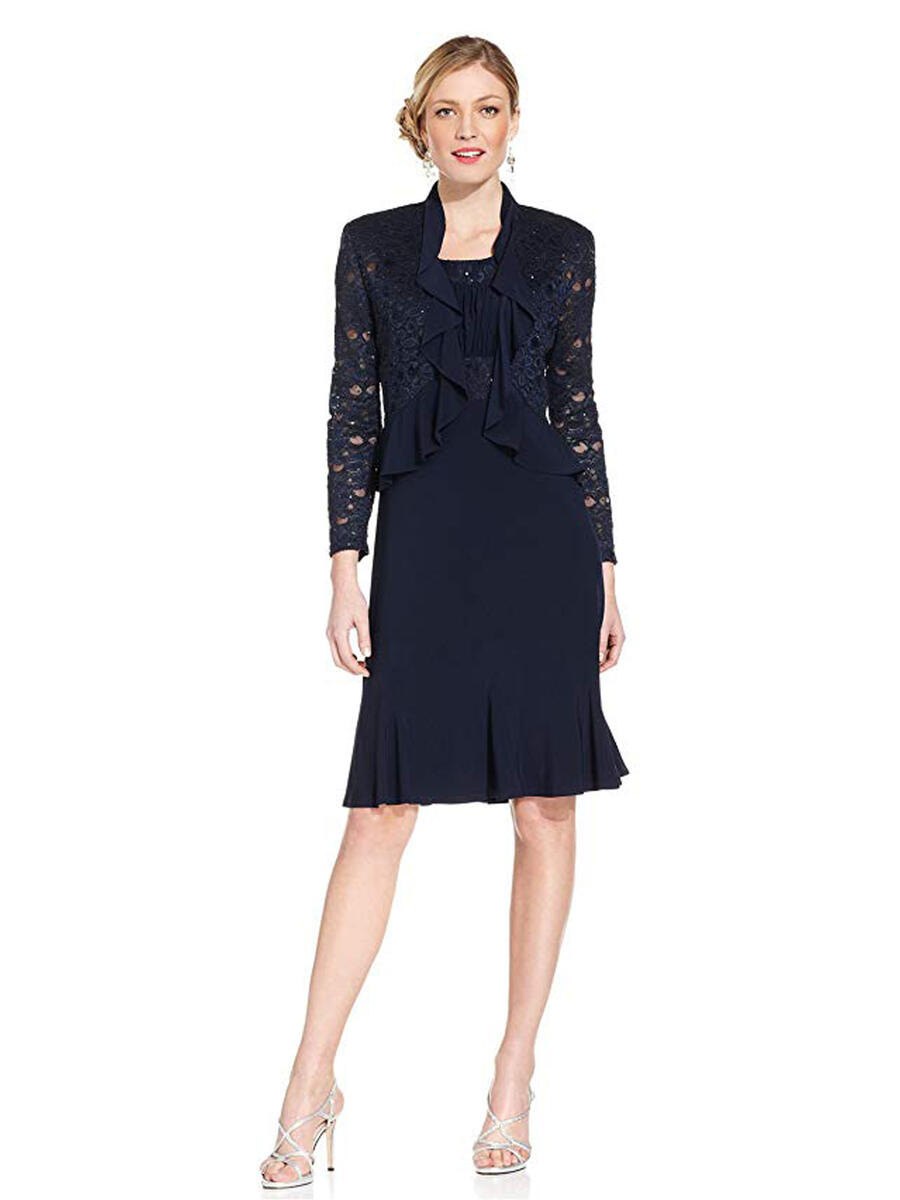 R & M Richards - Lace Ruffle Jacket & Jersey Dress