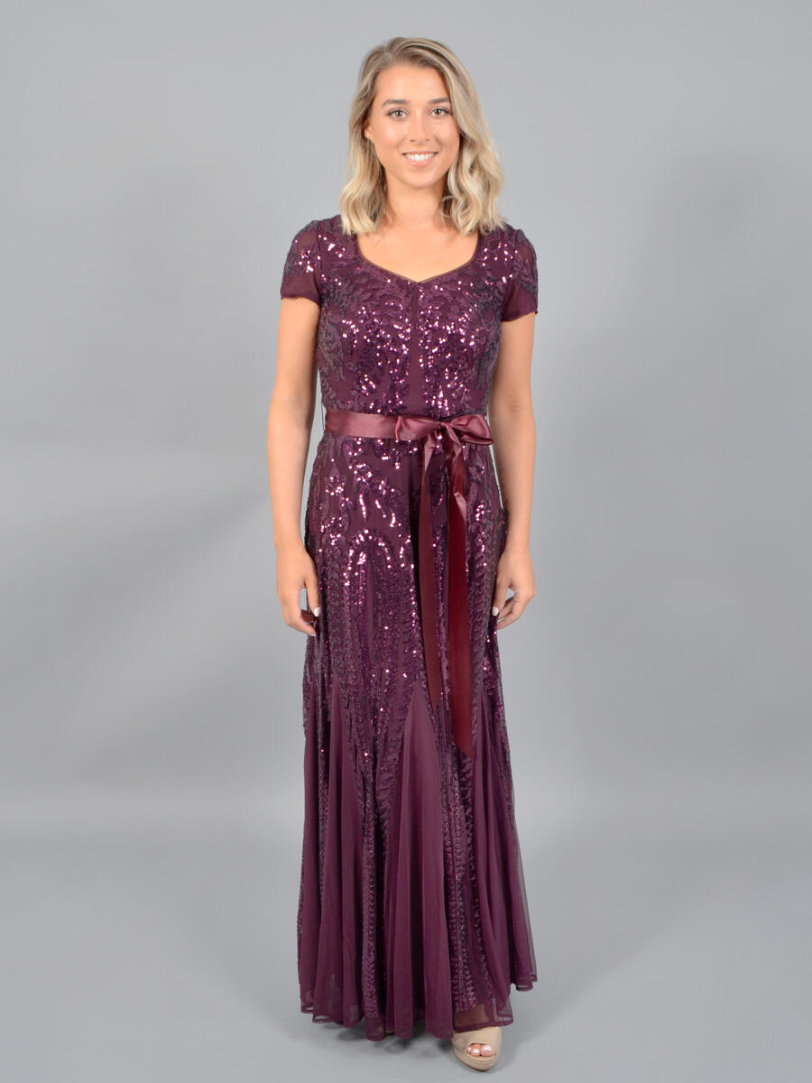 R & M Richards - Short Sleeve Mesh Sequin Gown