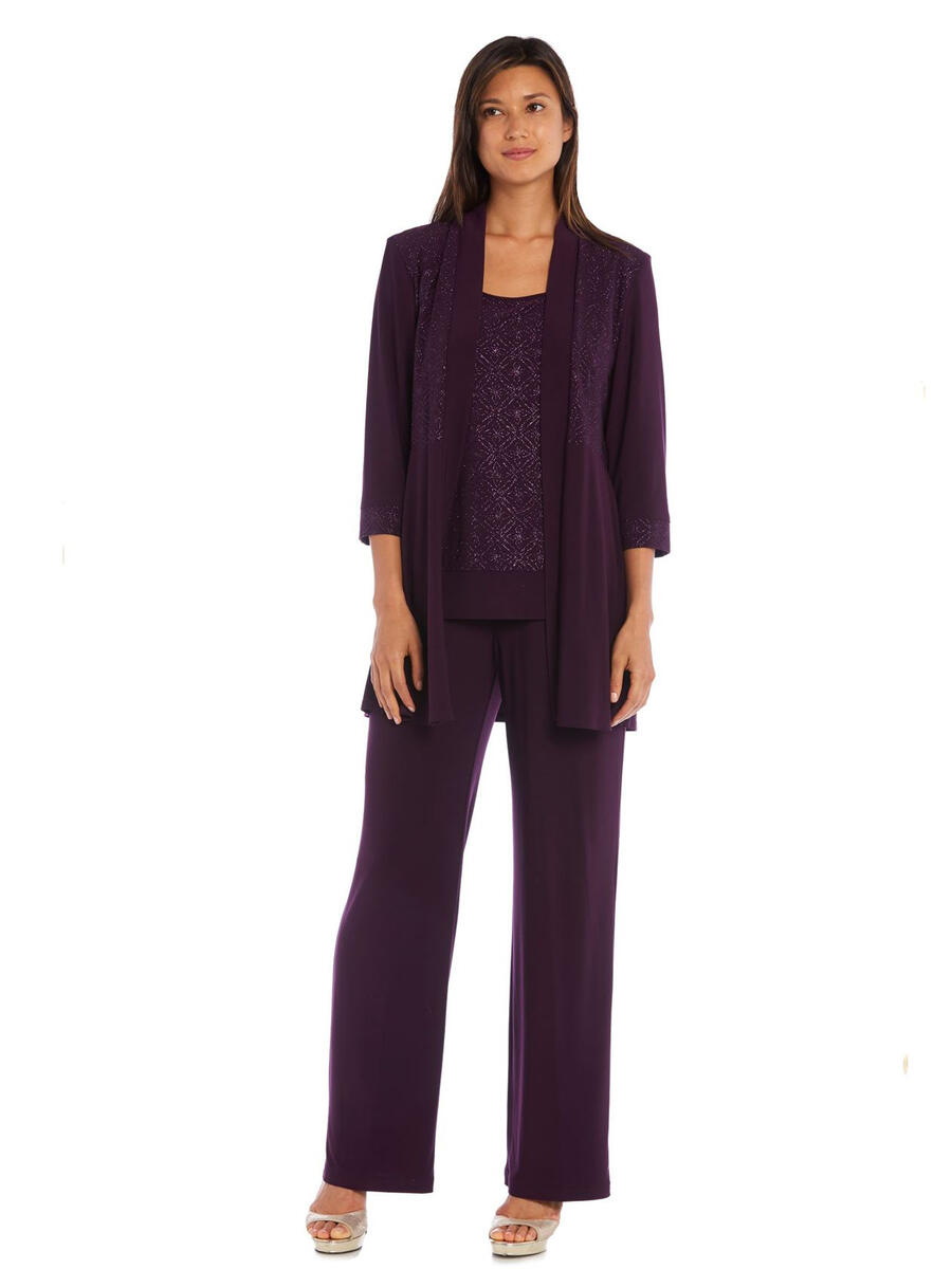 R & M Richards - Glitter Jersey Pant Set with Jacket
